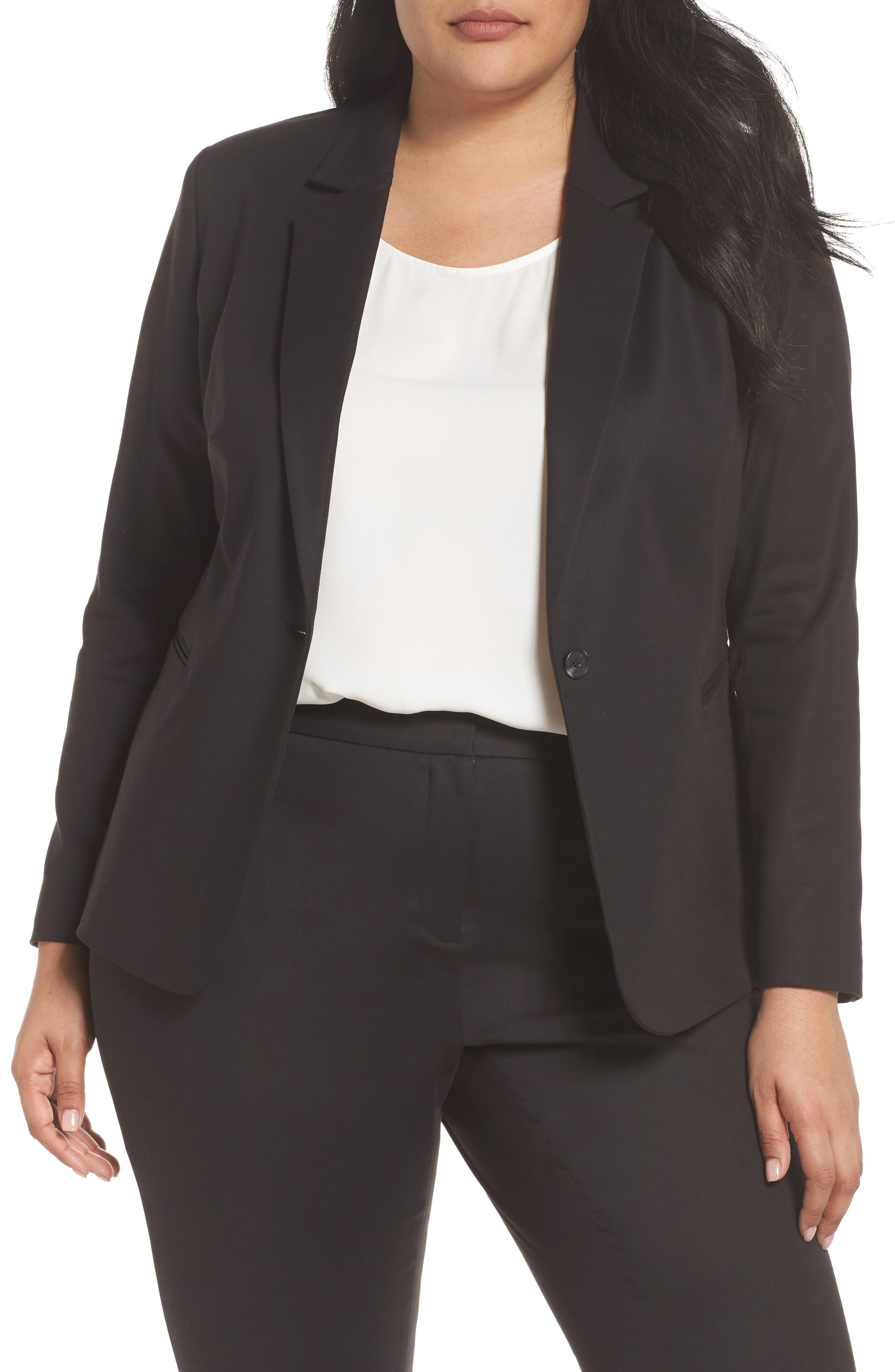 Lace-Up Back Blazer,                         Main,                         color, Rich Black