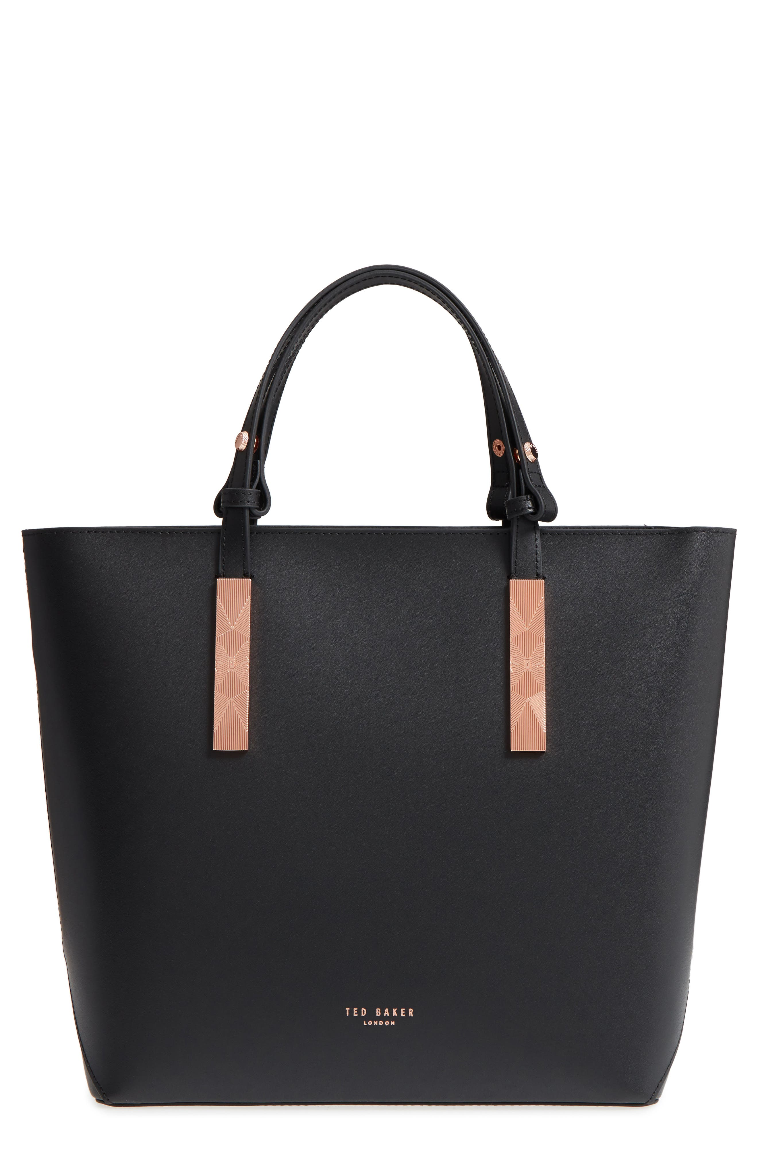 Jaceyy Adjustable Handle Leather Shopper,                         Main,                         color, Black
