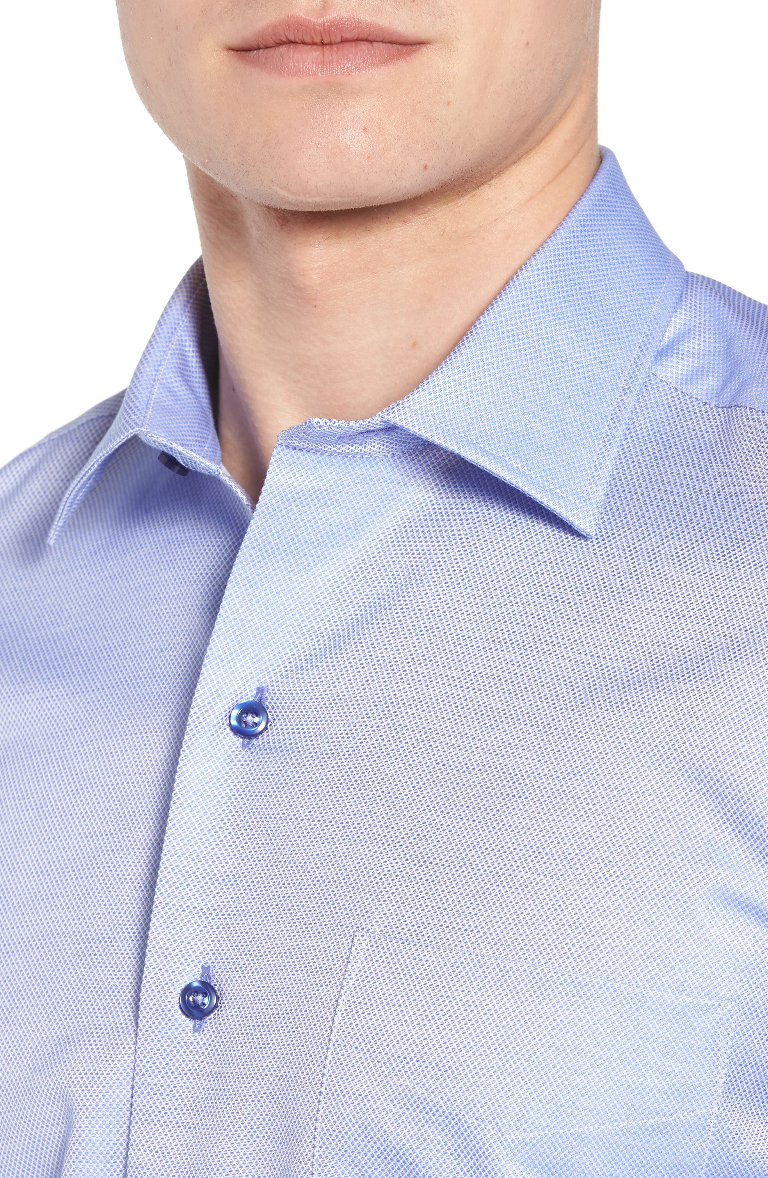Micro Diamond Regular Fit Sport Shirt,                             Alternate thumbnail 4, color,                             Blue