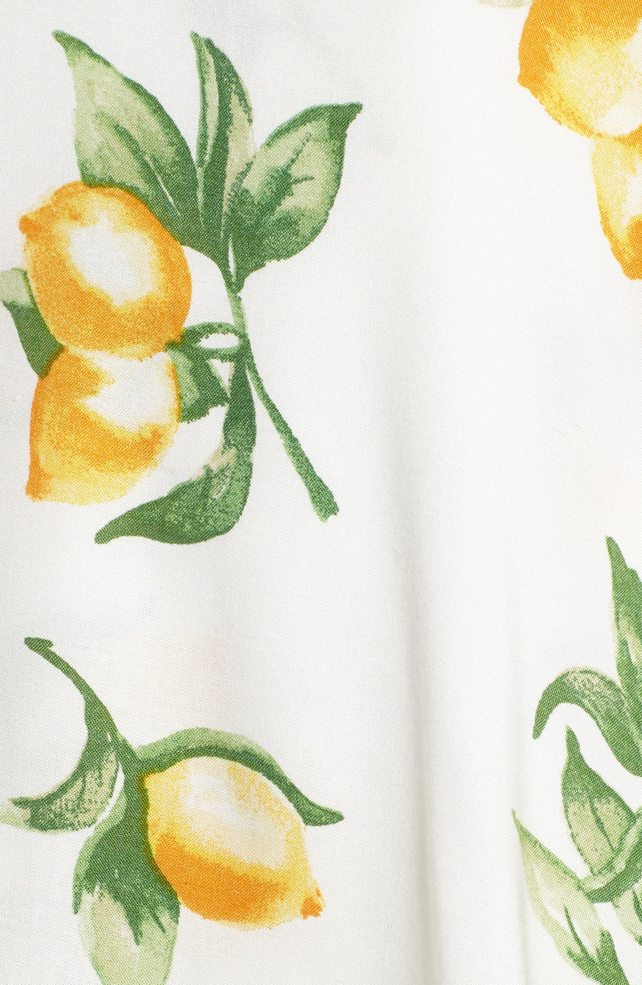 Fruit Print Side Tie Skirt,                             Alternate thumbnail 5, color,                             Ivory Lemon Print