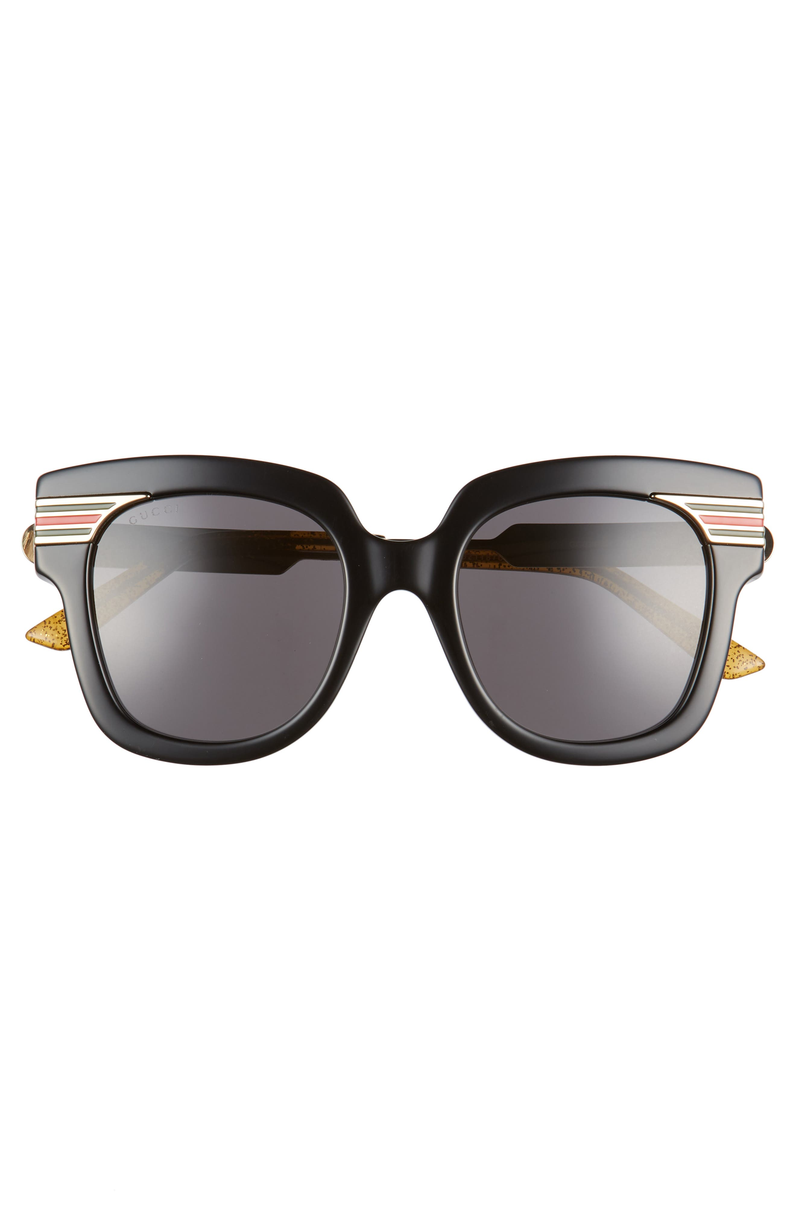 51mm Cat Eye Sunglasses,                             Alternate thumbnail 3, color,                             Black/ Gold