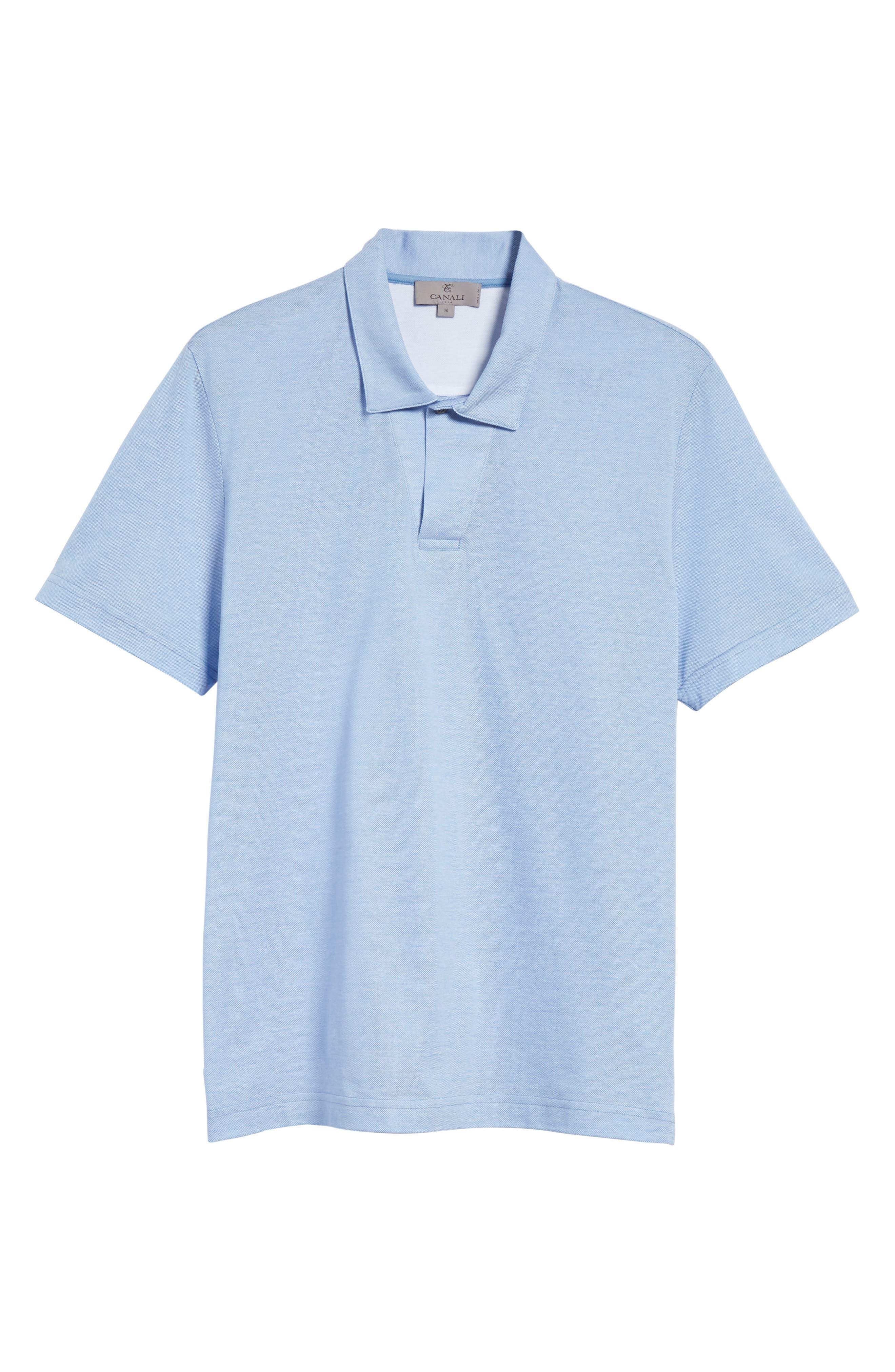 Piqué Polo Shirt,                             Alternate thumbnail 6, color,                             Sky Blue