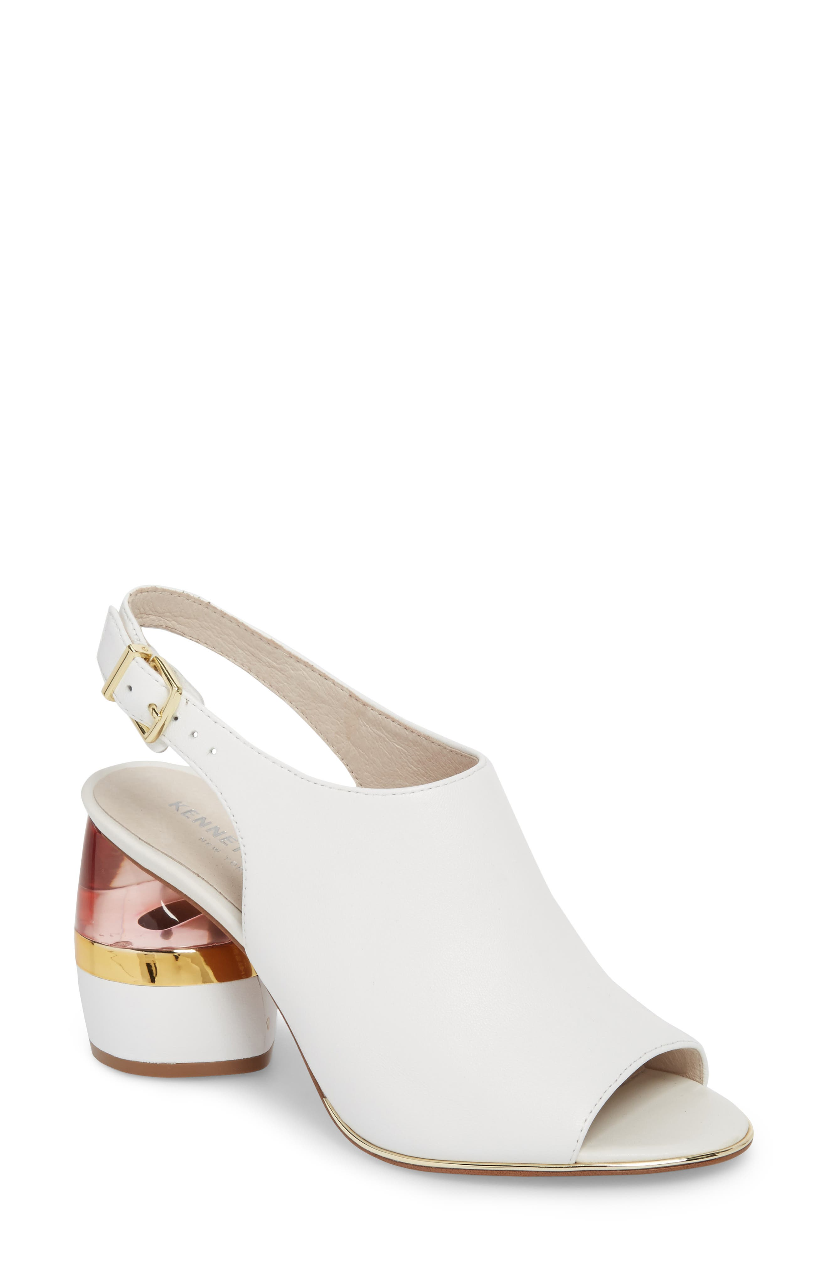 Lovelle Statement Heel Sandal,                         Main,                         color, White Leather