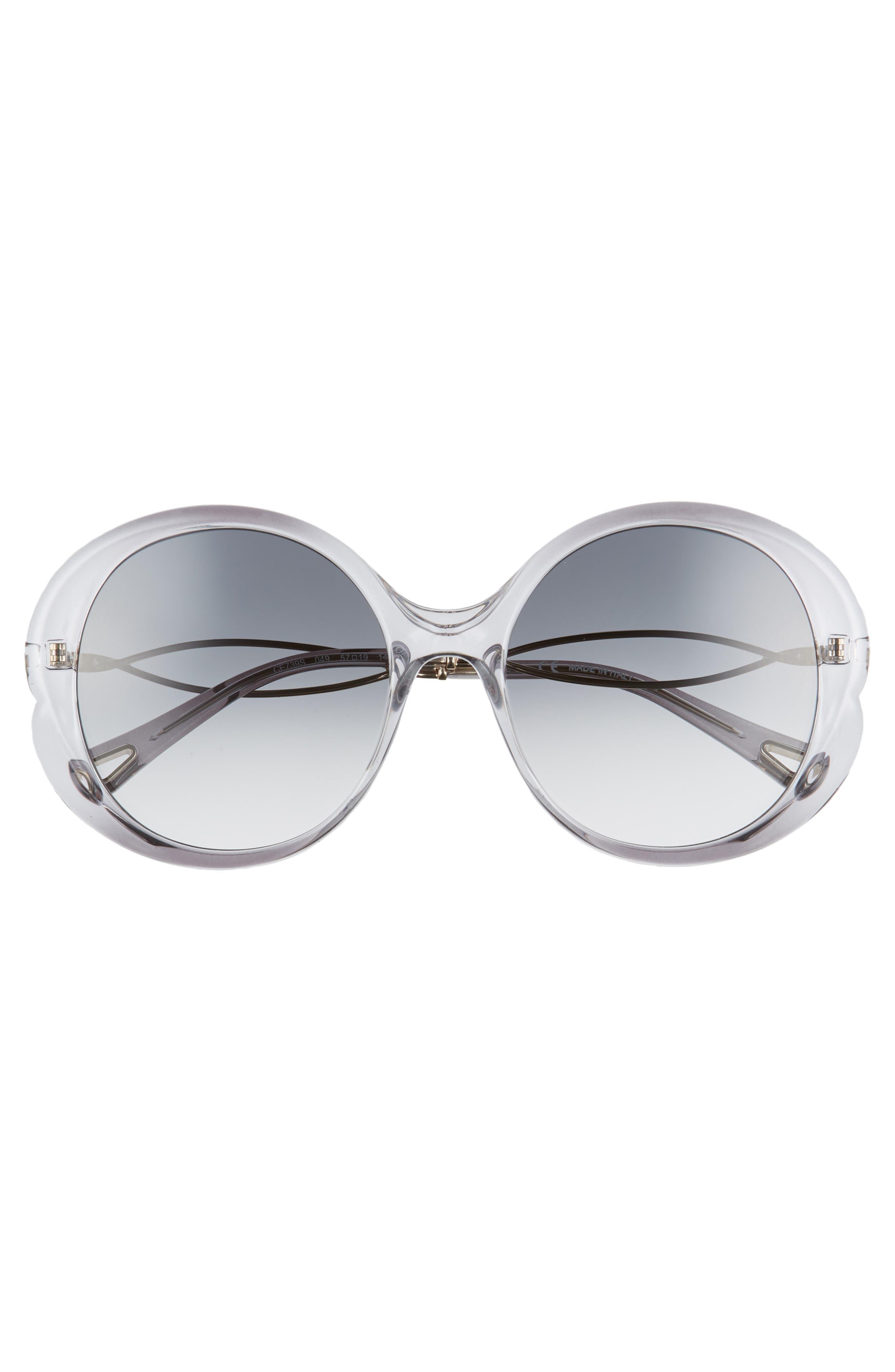 Petal 57mm Gradient Round Sunglasses,                             Alternate thumbnail 3, color,                             Grey/ Light Grey