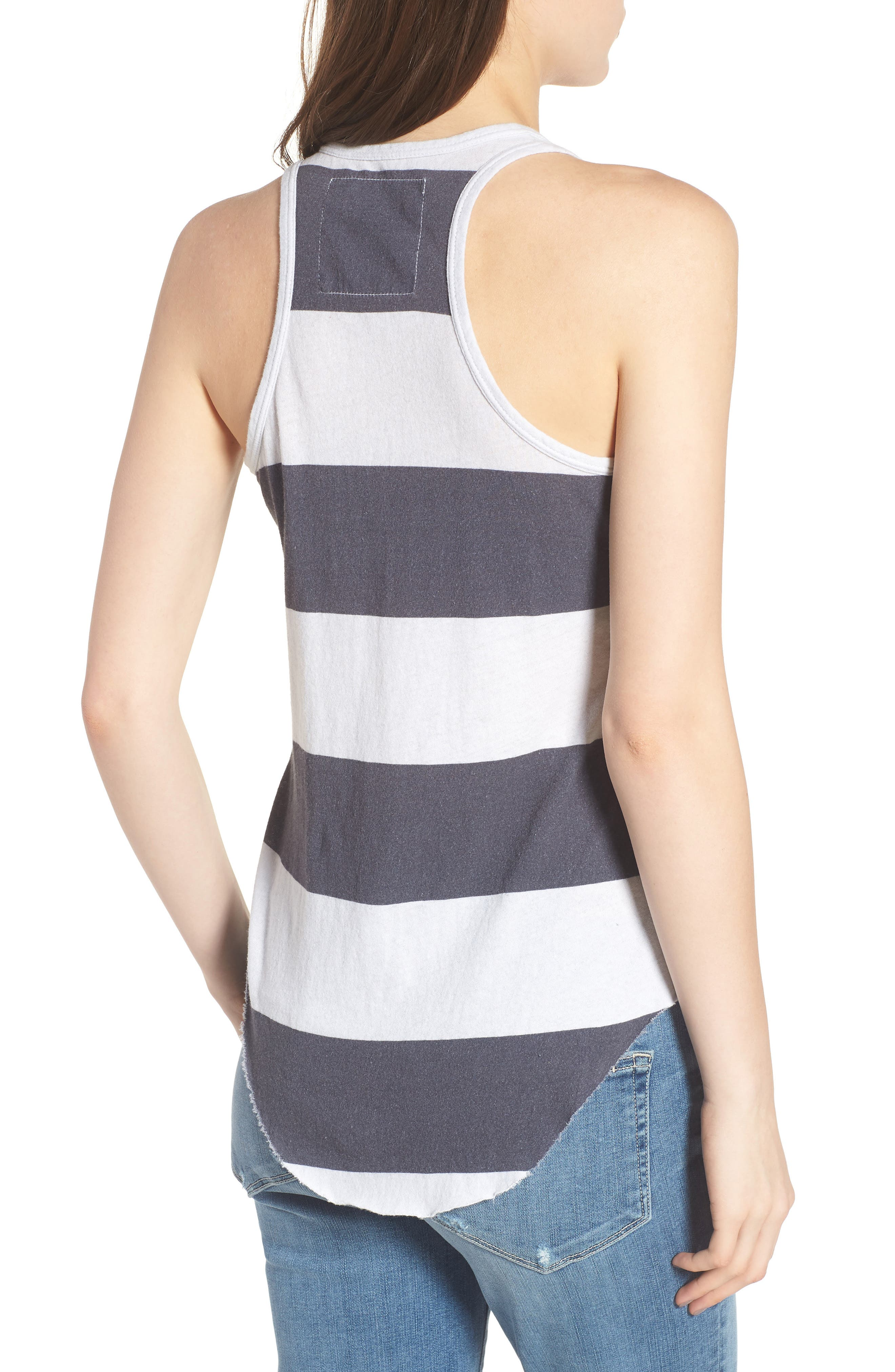 Stripe Long Layering Tank,                             Alternate thumbnail 2, color,                             Carbon Rugby