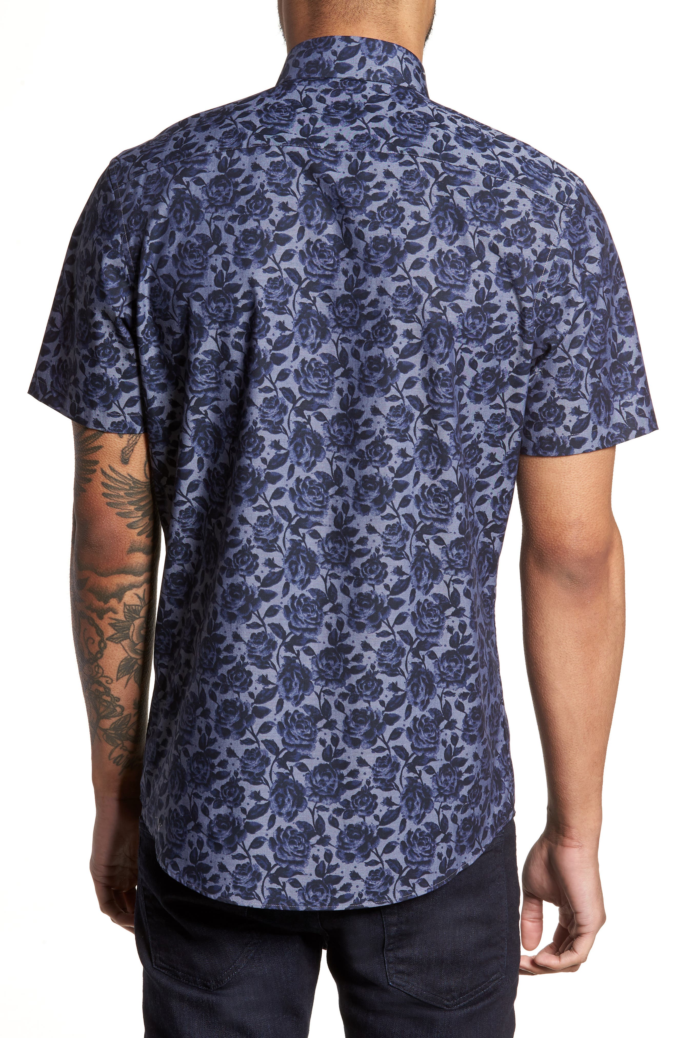 Floral Print Sport Shirt,                             Alternate thumbnail 3, color,                             Navy Blue Chambray Floral