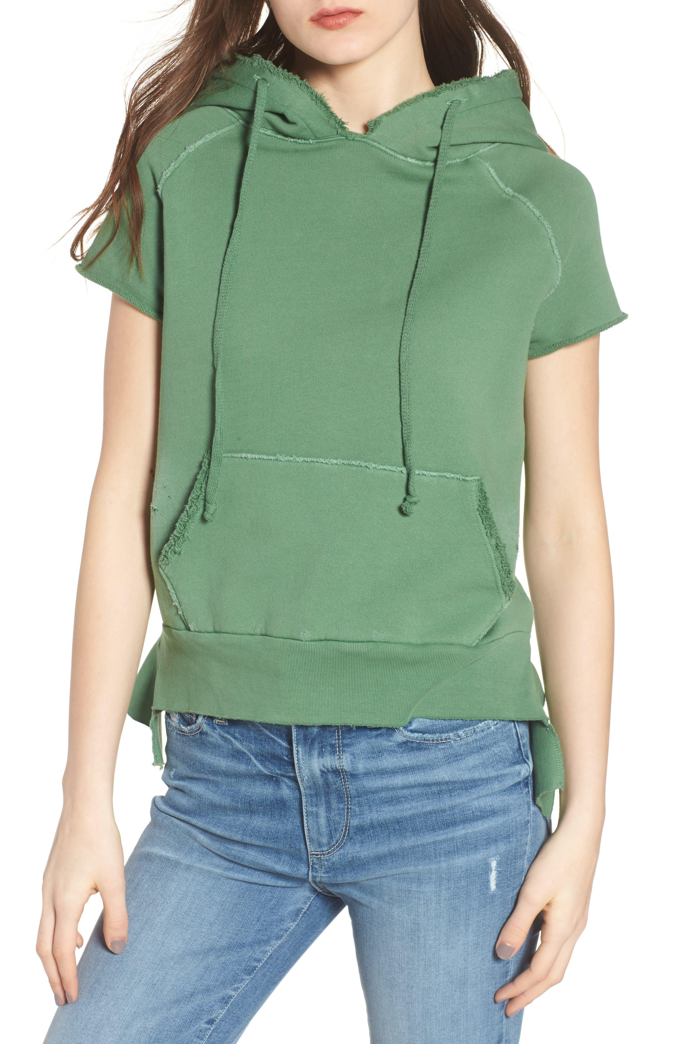 Short Sleeve Pullover Hoodie,                         Main,                         color, Envied 5 Year Vintage Wash