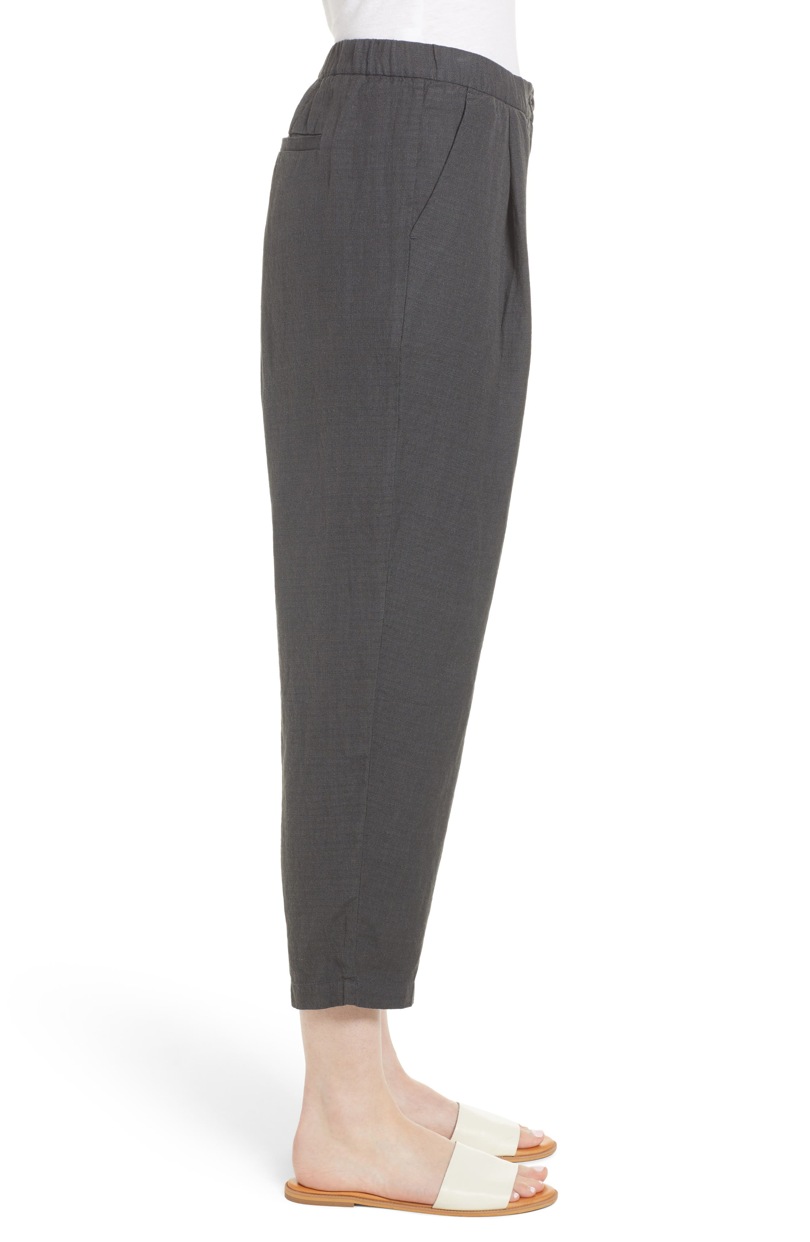 Pleated Linen Blend Ankle Trousers,                             Alternate thumbnail 3, color,                             Graphite