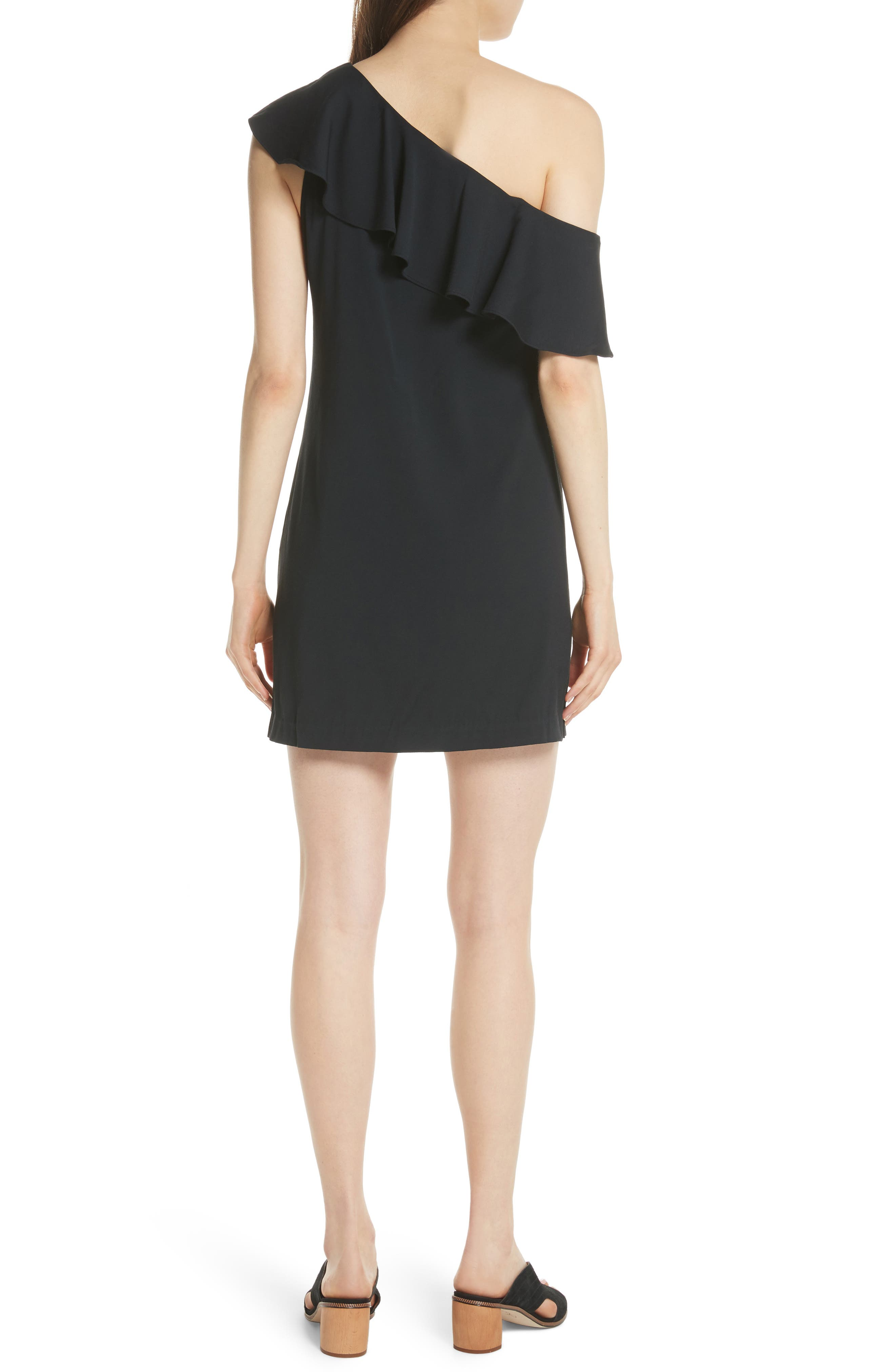 Bronwen Ruffled One-Shoulder Dress,                             Alternate thumbnail 2, color,                             Caviar