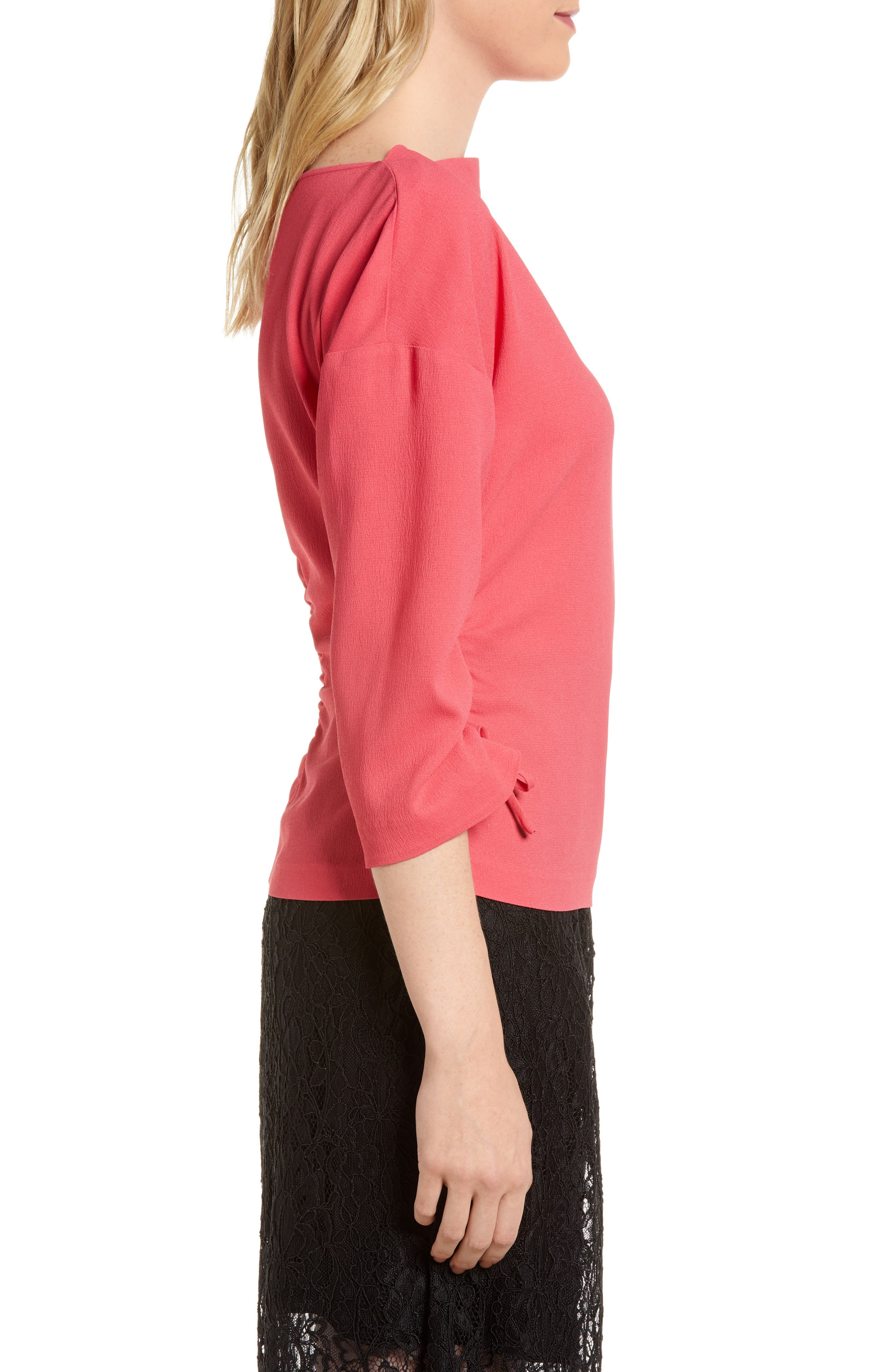 Ruched Crepe Top,                             Alternate thumbnail 3, color,                             Pink Honey