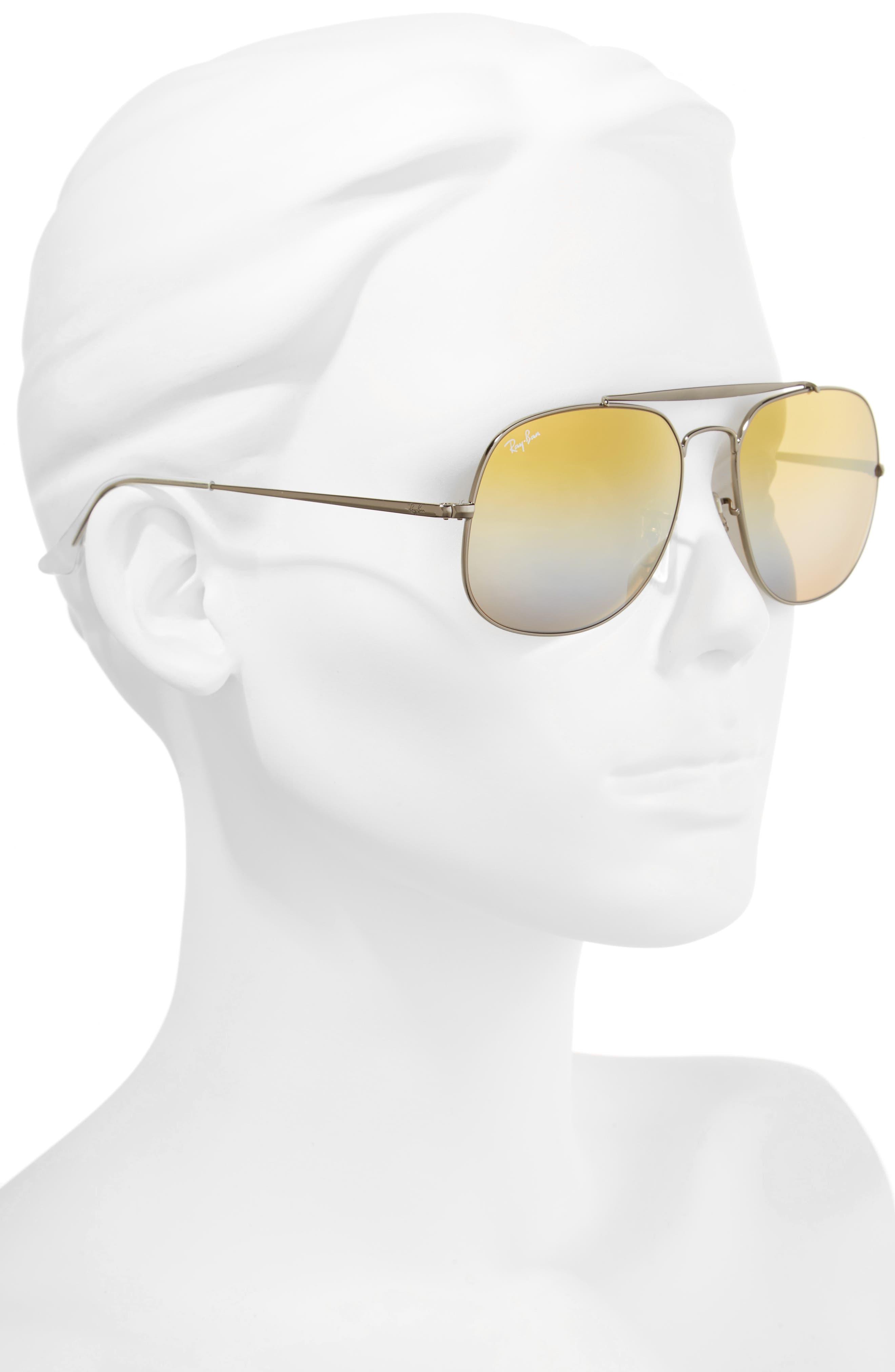 57mm Aviator Sunglasses,                             Alternate thumbnail 2, color,                             Grey Orange