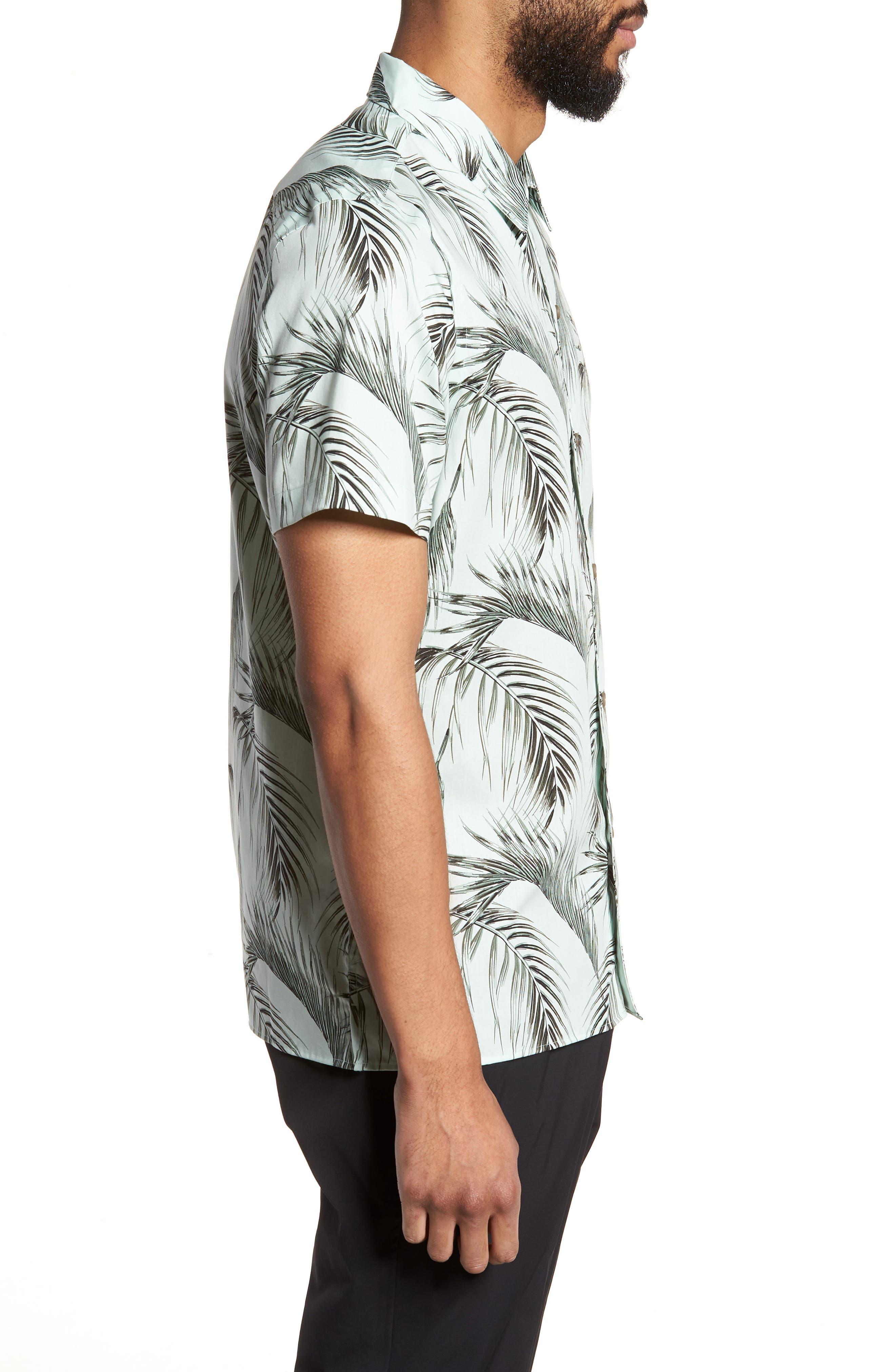 Slim Fit Short Sleeve Print Camp Shirt,                             Alternate thumbnail 4, color,                             Green Screen Palms