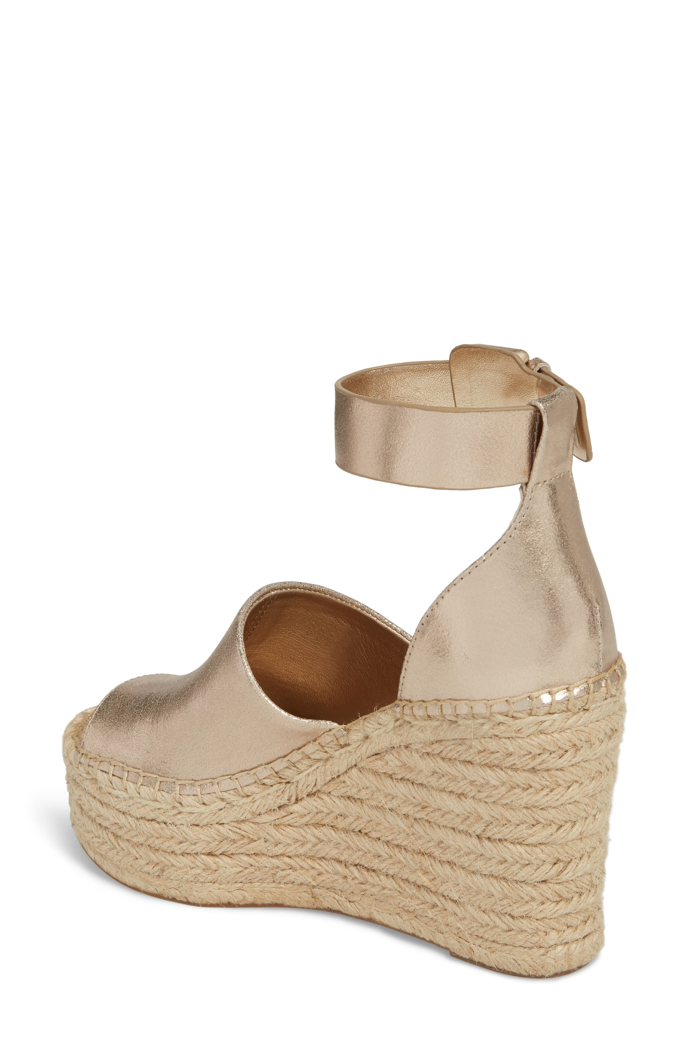 Adalyn Espadrille Wedge Sandal,                             Alternate thumbnail 2, color,                             Gold Leather