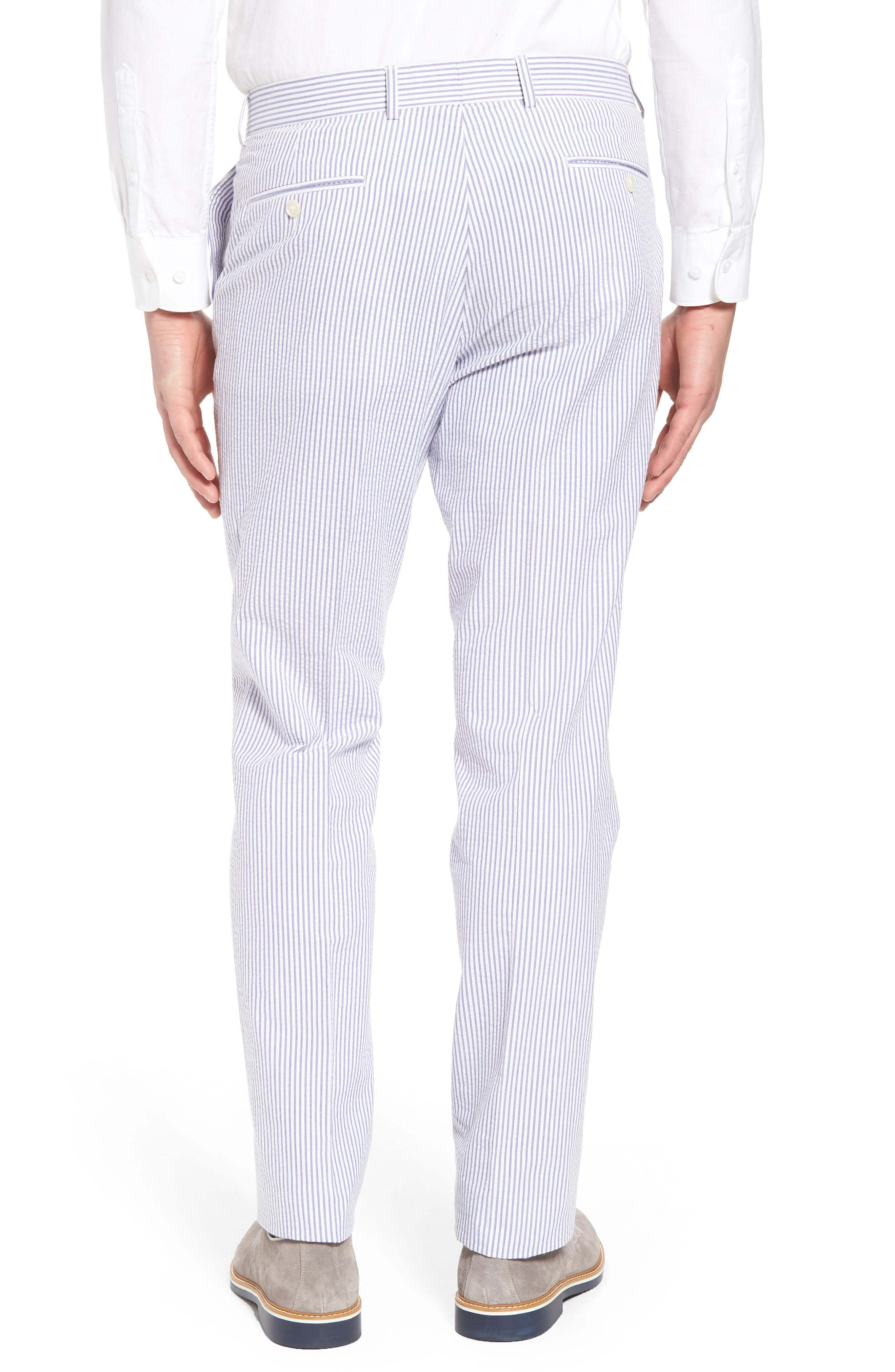 Andrew AIM Flat Front Seersucker Trousers,                             Alternate thumbnail 2, color,                             Blue And White