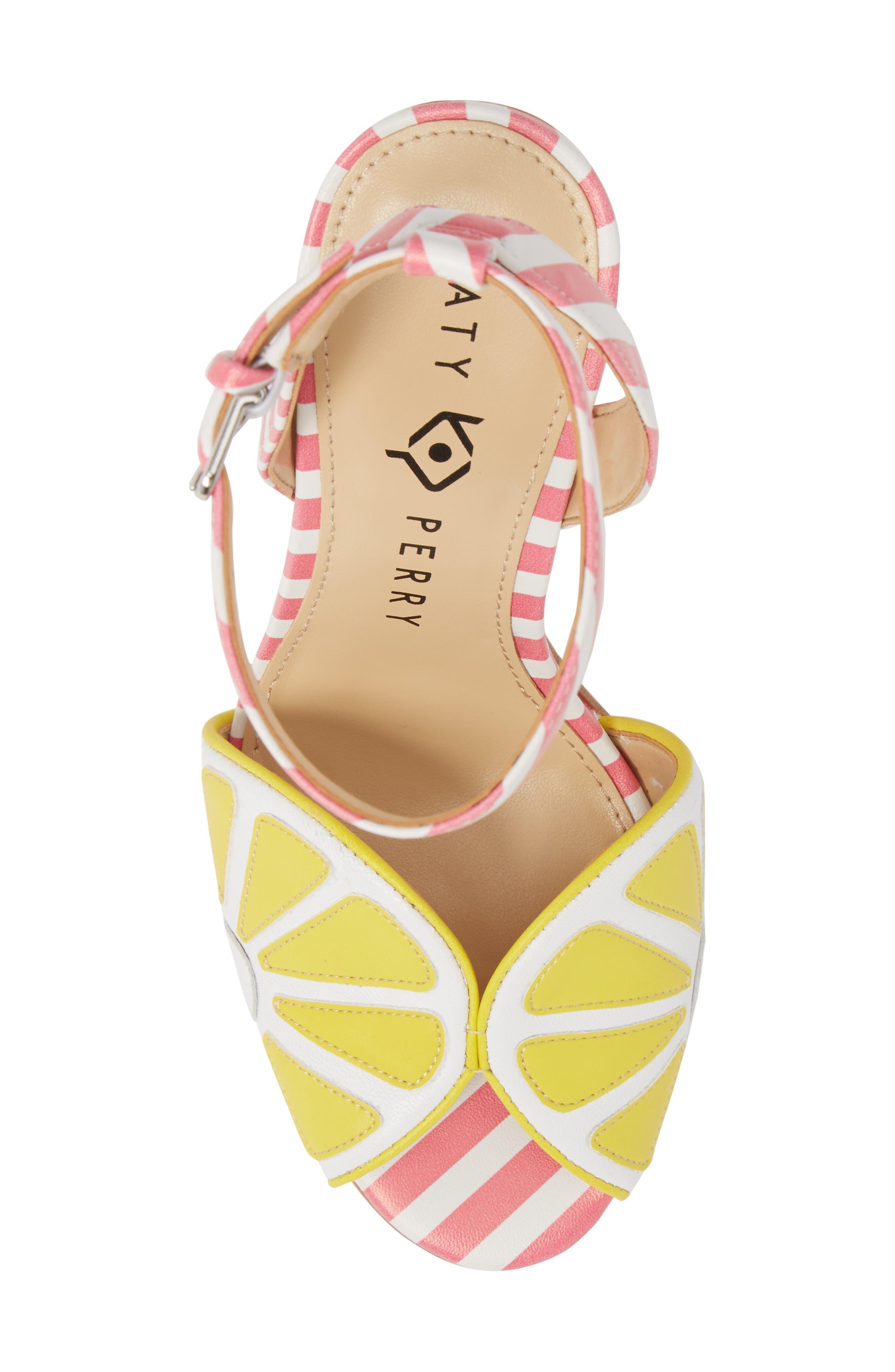 The Citron Sandal,                             Alternate thumbnail 5, color,                             Yellow/ White Leather