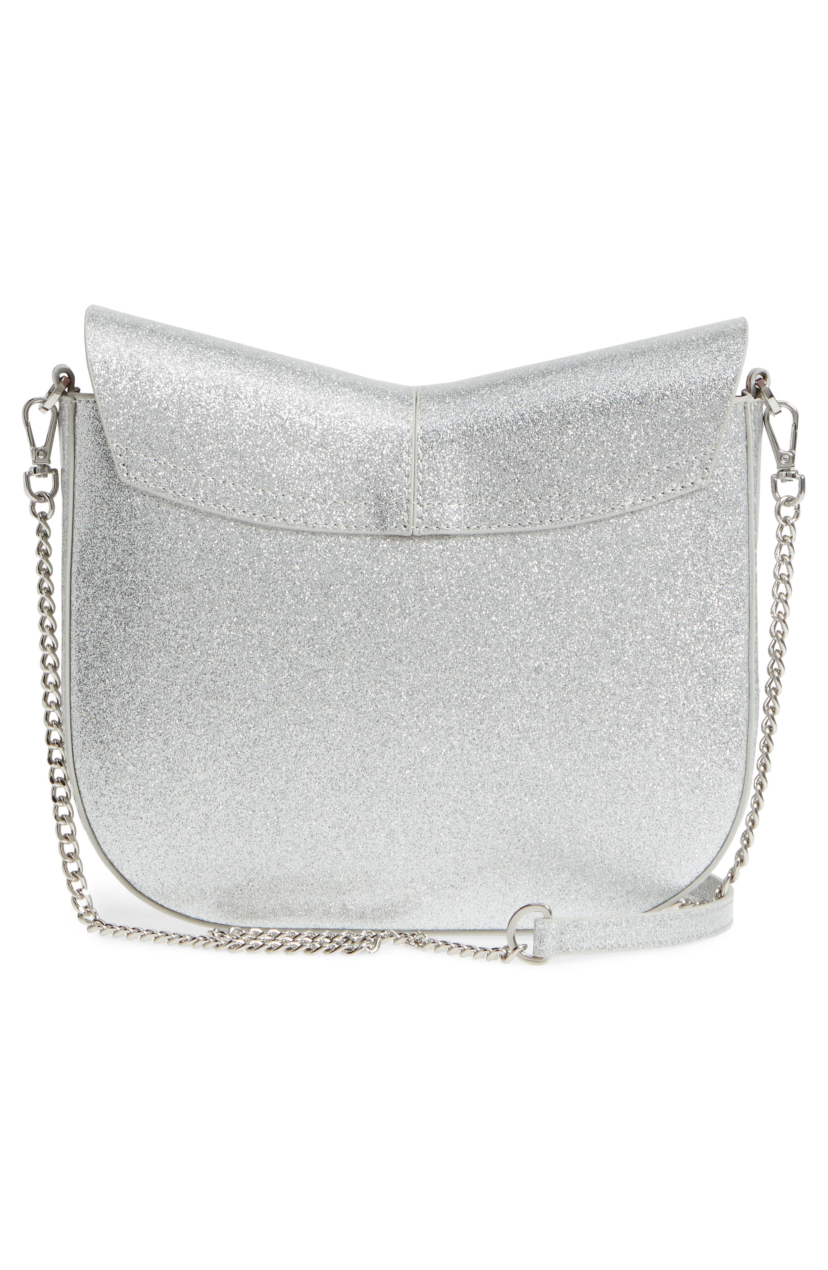 Hildaa Glitter Faux Leather Crossbody Bag,                             Alternate thumbnail 3, color,                             Silver
