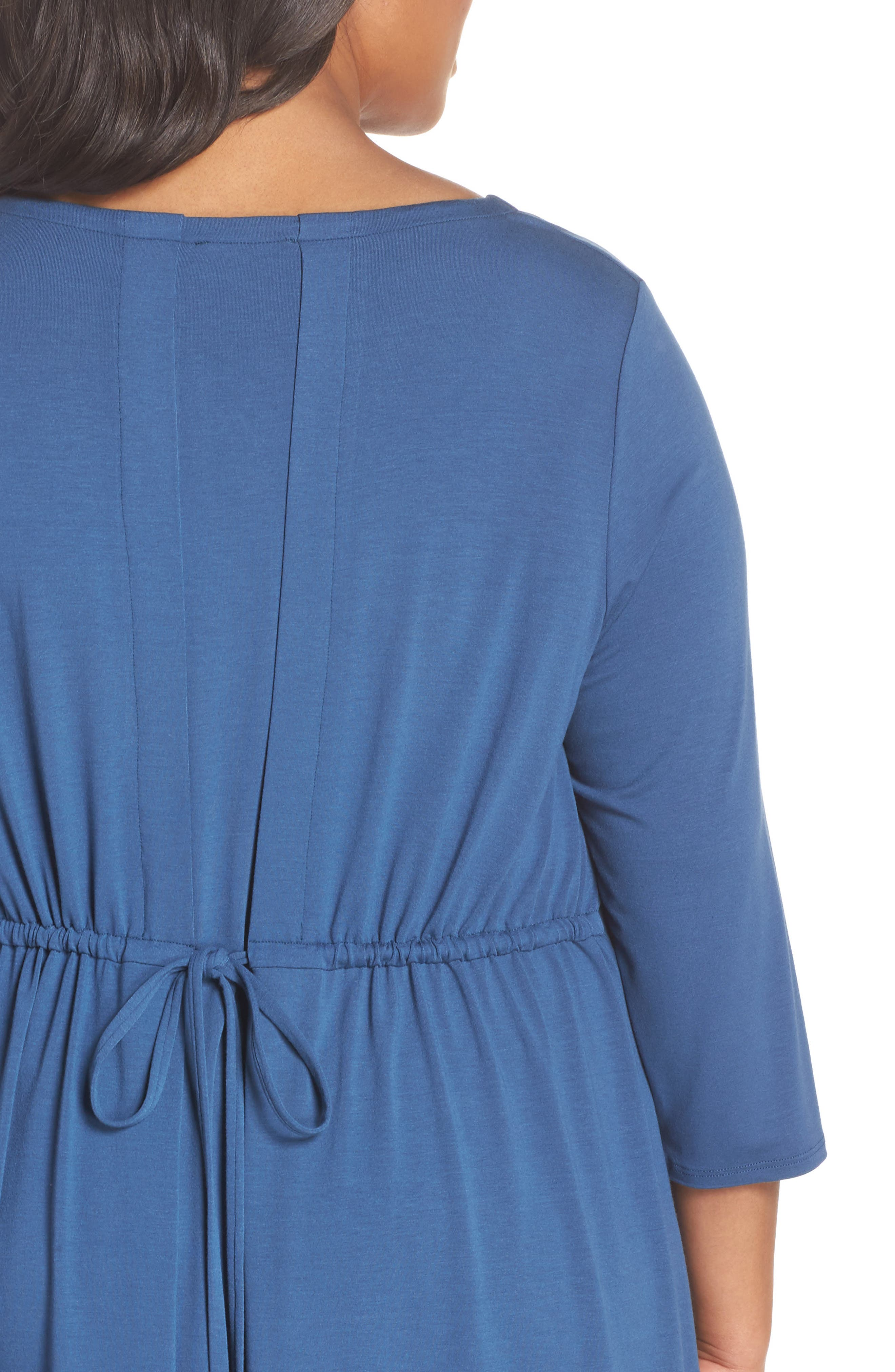 Jewel Neck Tie Back Dress,                             Alternate thumbnail 4, color,                             Denim