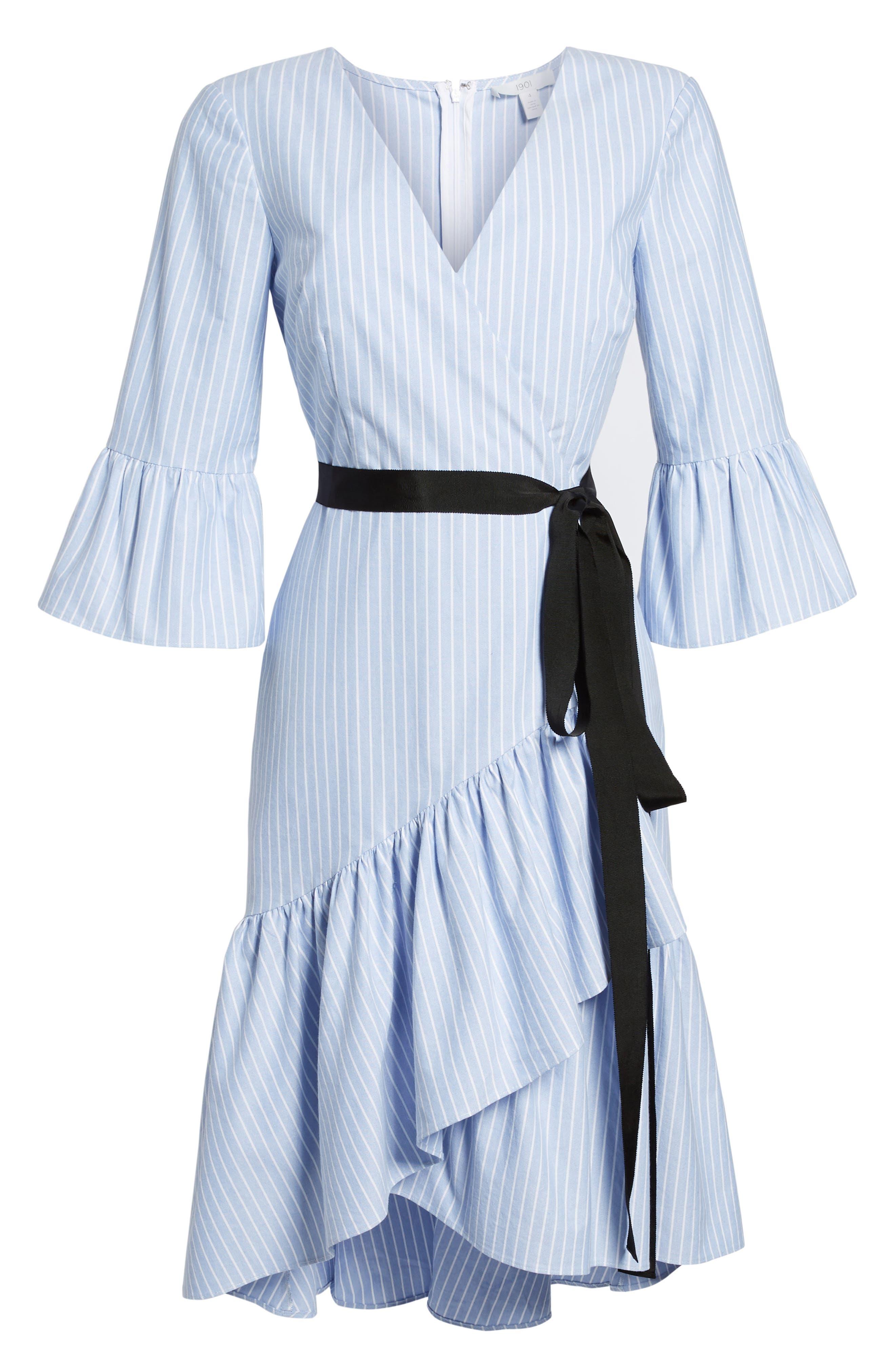 Ruffle Hem Faux Wrap Dress,                             Alternate thumbnail 6, color,                             Blue- White Stripe