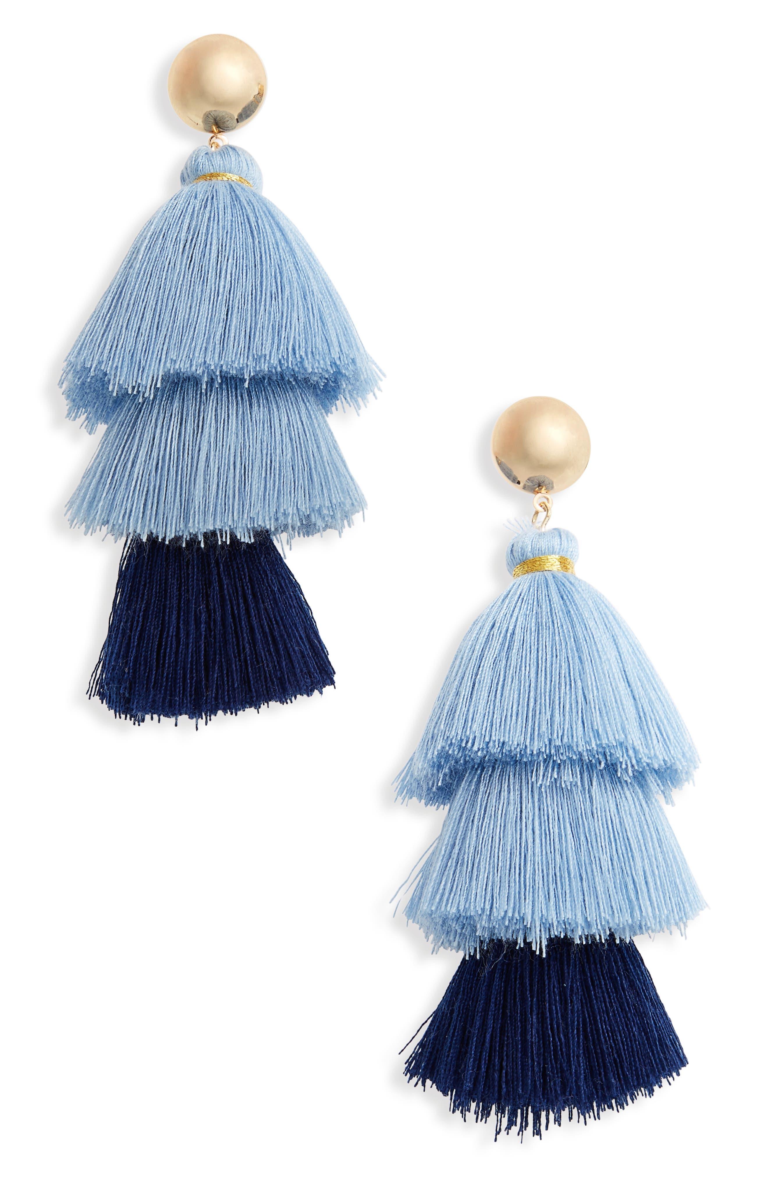 Multi Layer Tassel Earrings,                         Main,                         color, Blue Multi