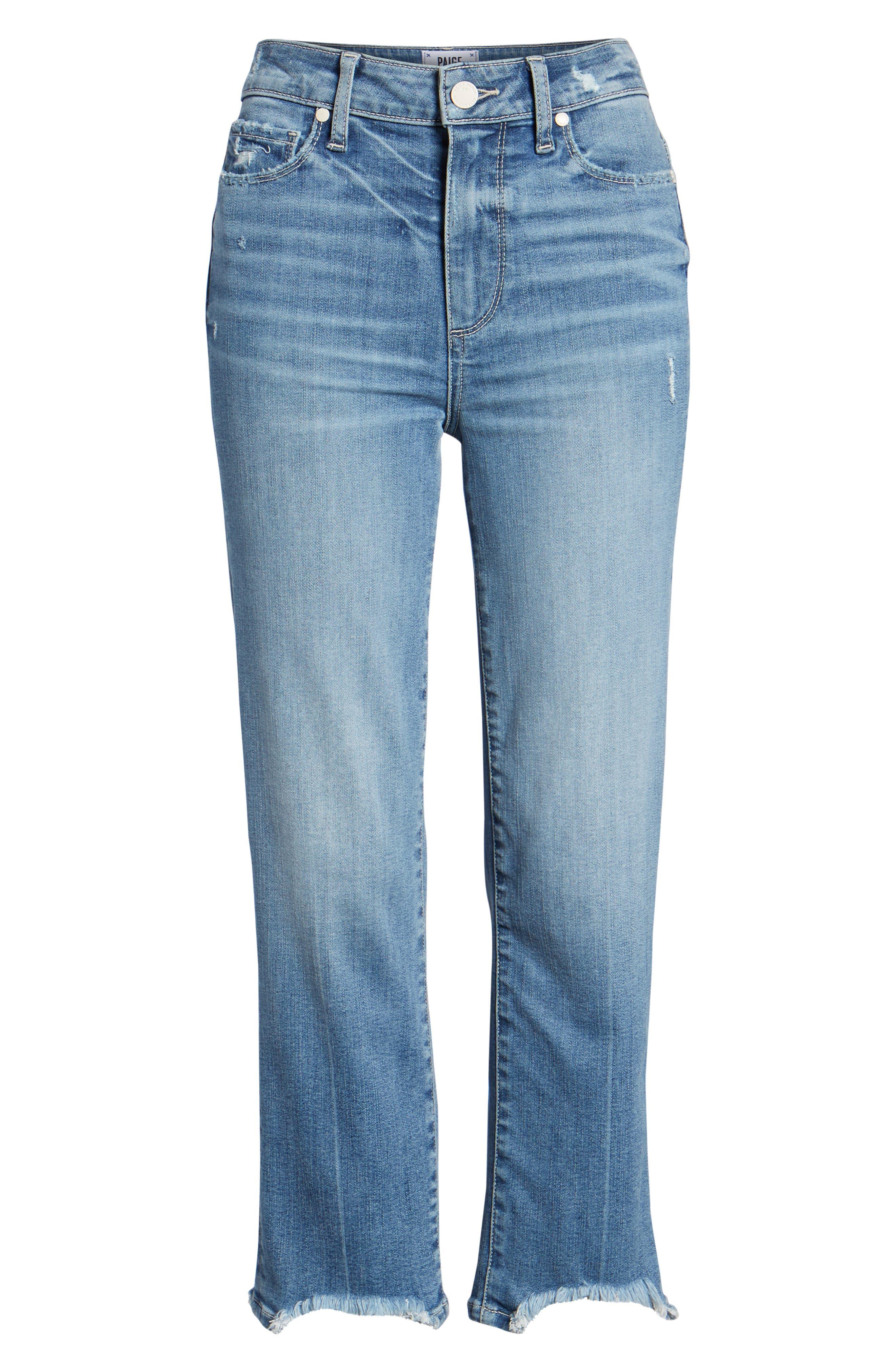 Transcend Vintage - Hoxton High Waist Crop Straight Leg Jeans,                             Alternate thumbnail 7, color,                             Zahara