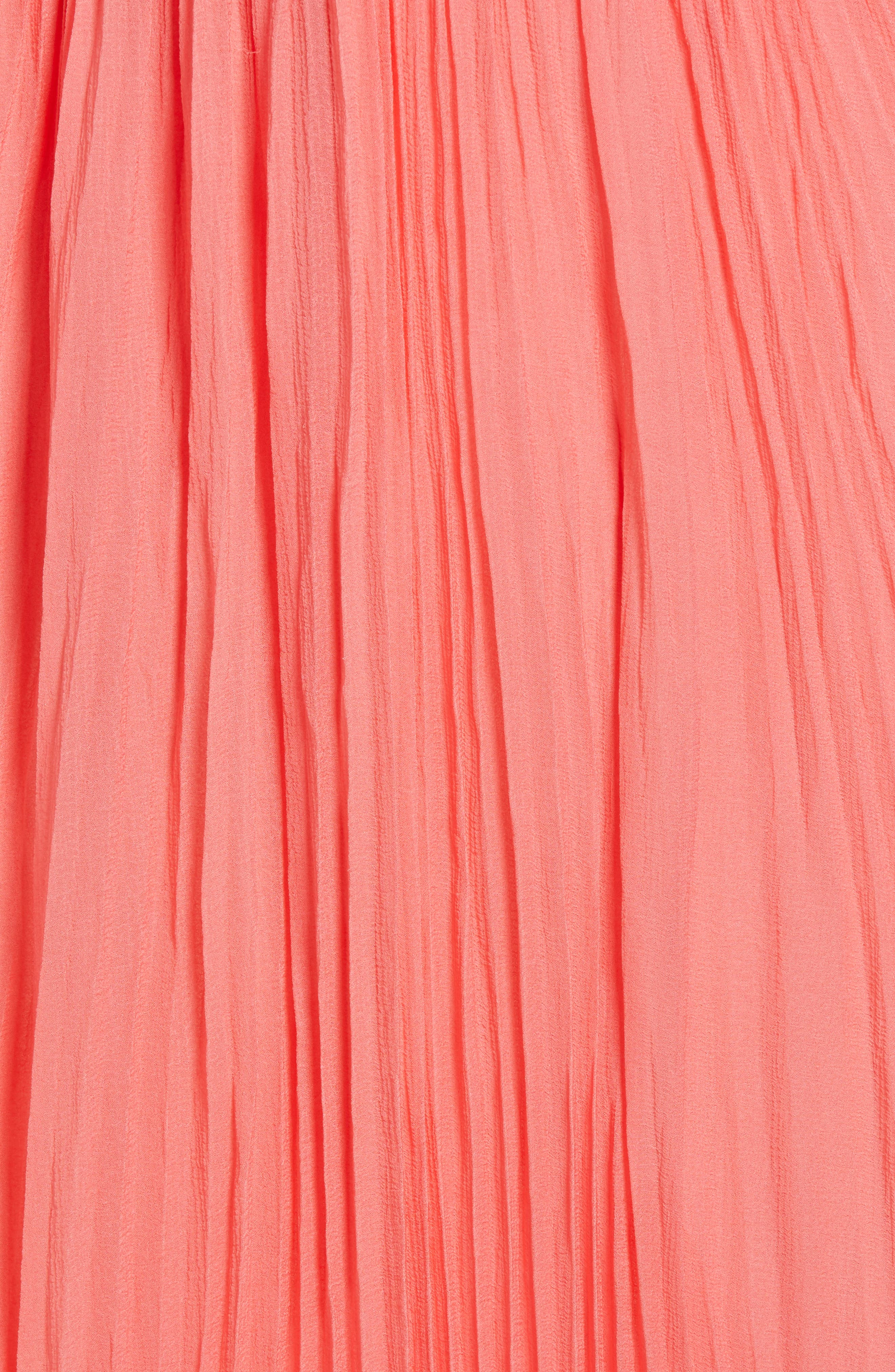 Pleated Crinkle Silk Maxi Dress,                             Alternate thumbnail 5, color,                             Coral Sugar