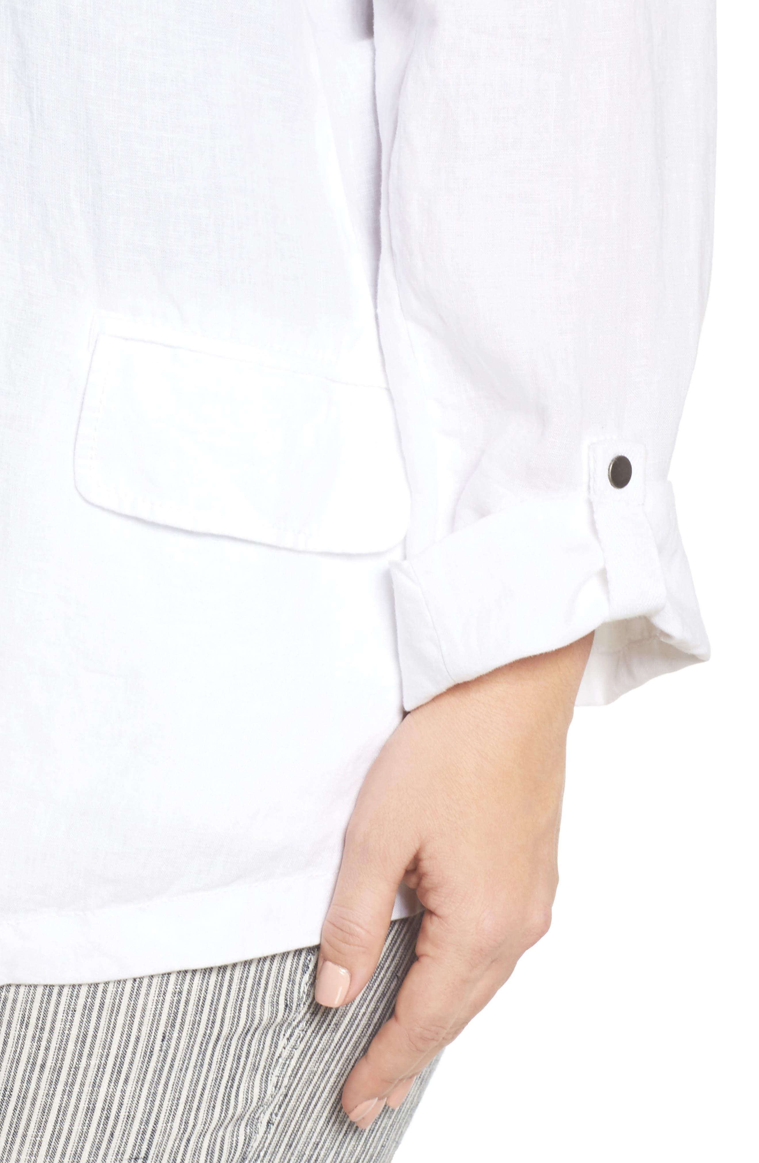 Long Linen Boyfriend Blazer,                             Alternate thumbnail 4, color,                             White