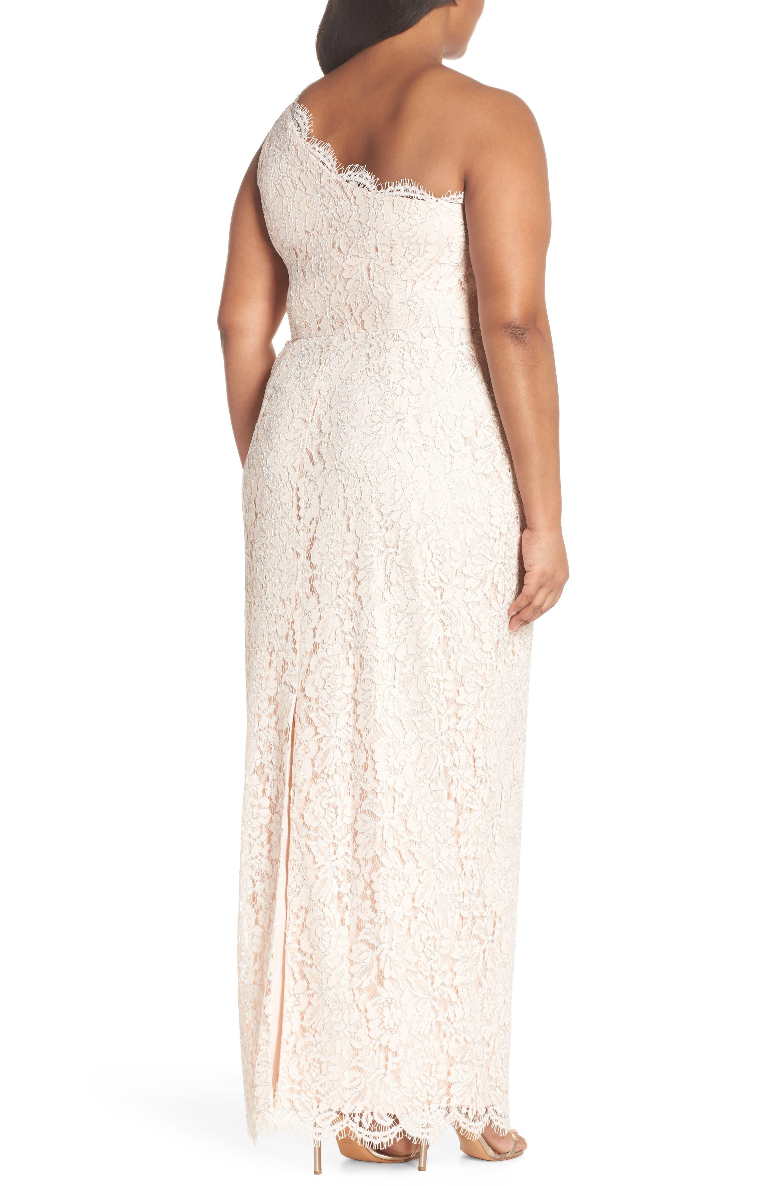 One-Shoulder Metallic Lace Gown,                             Alternate thumbnail 2, color,                             Blush