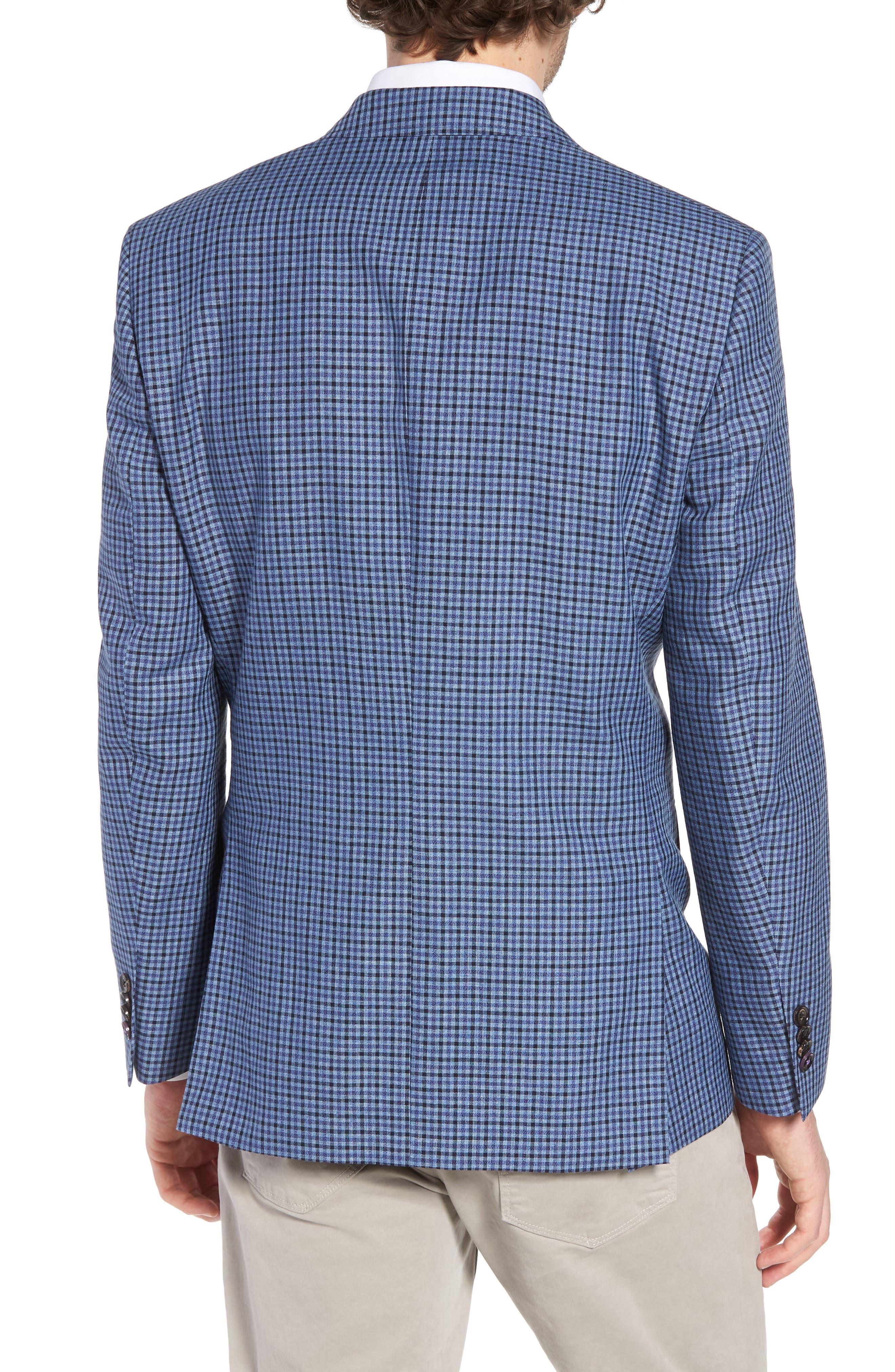 Jay Trim Fit Check Wool & Linen Sport Coat,                             Alternate thumbnail 2, color,                             Blue