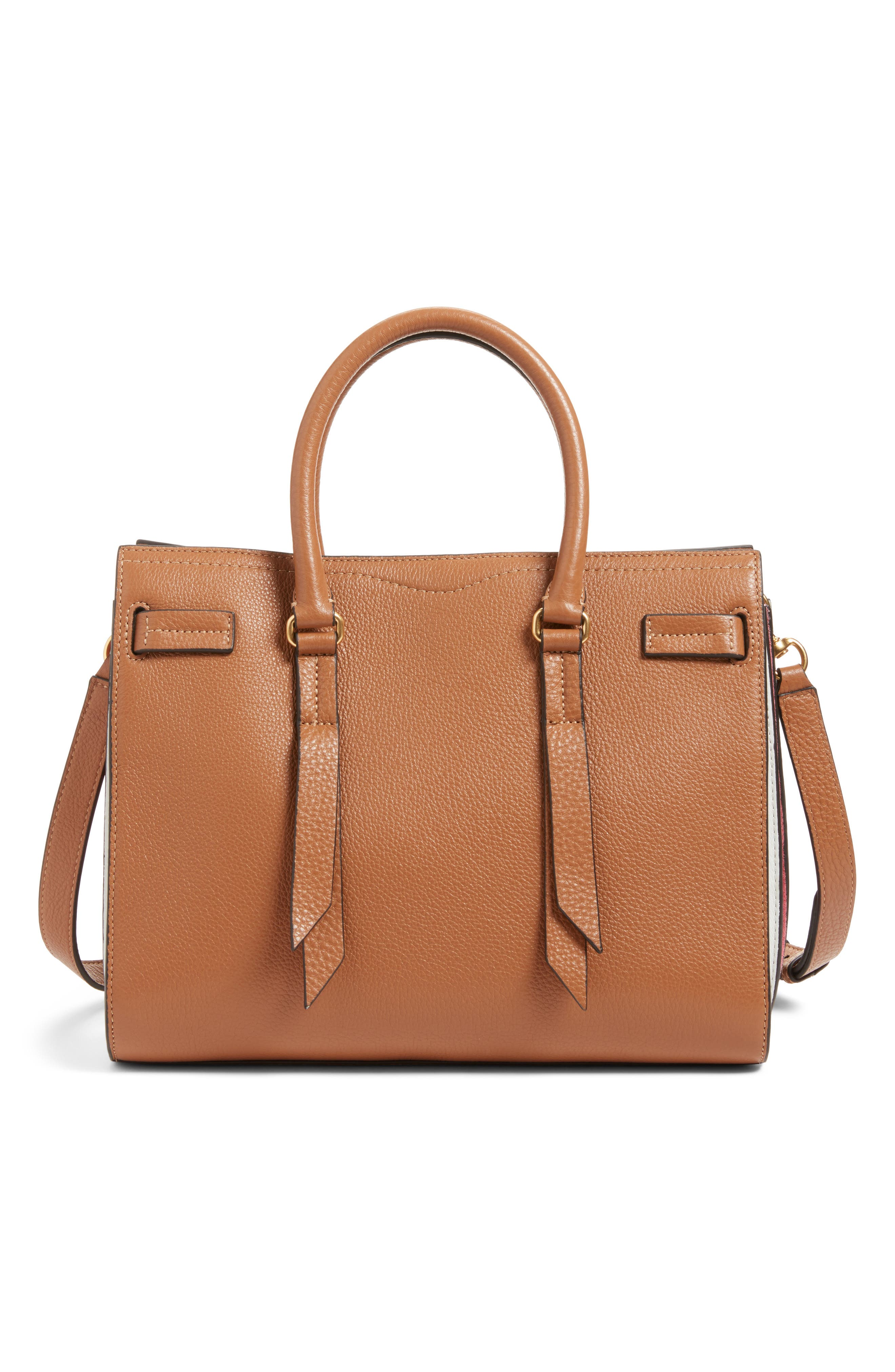 Sherry Calfskin Leather Satchel,                             Main thumbnail 1, color,                             Almond Multi