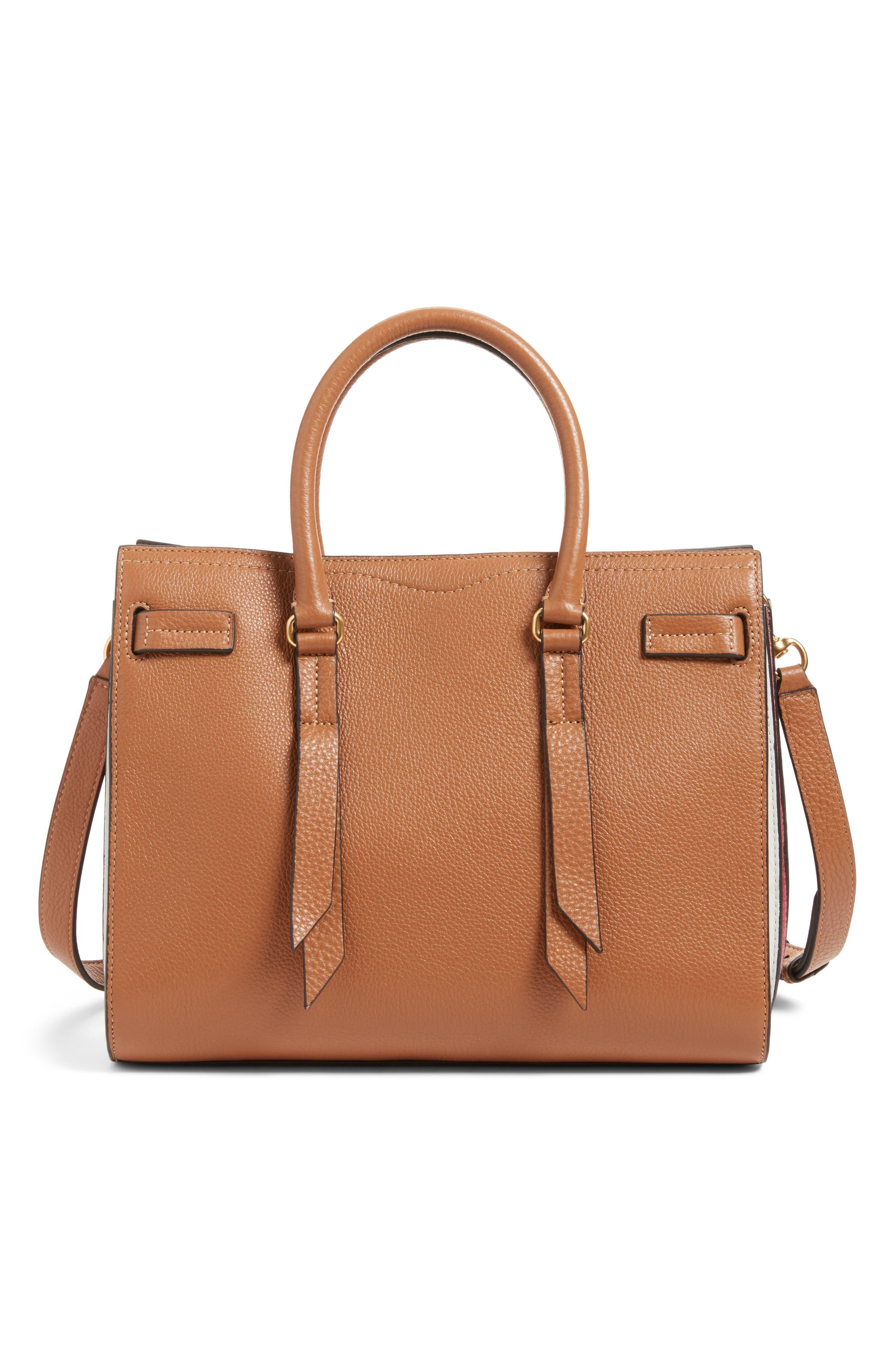 Sherry Calfskin Leather Satchel,                         Main,                         color, Almond Multi