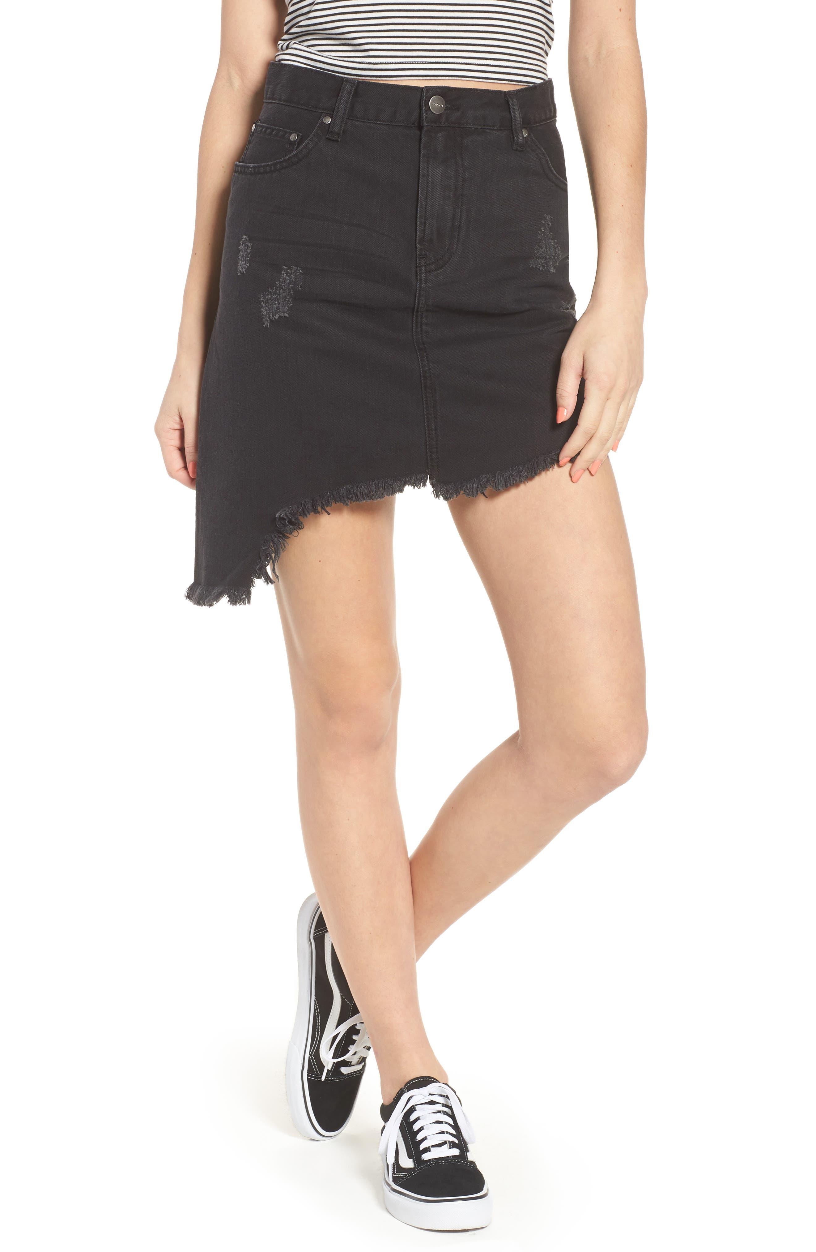 EVDNT Modena Asymmetrical Denim Skirt,                             Main thumbnail 1, color,                             Black Sheep