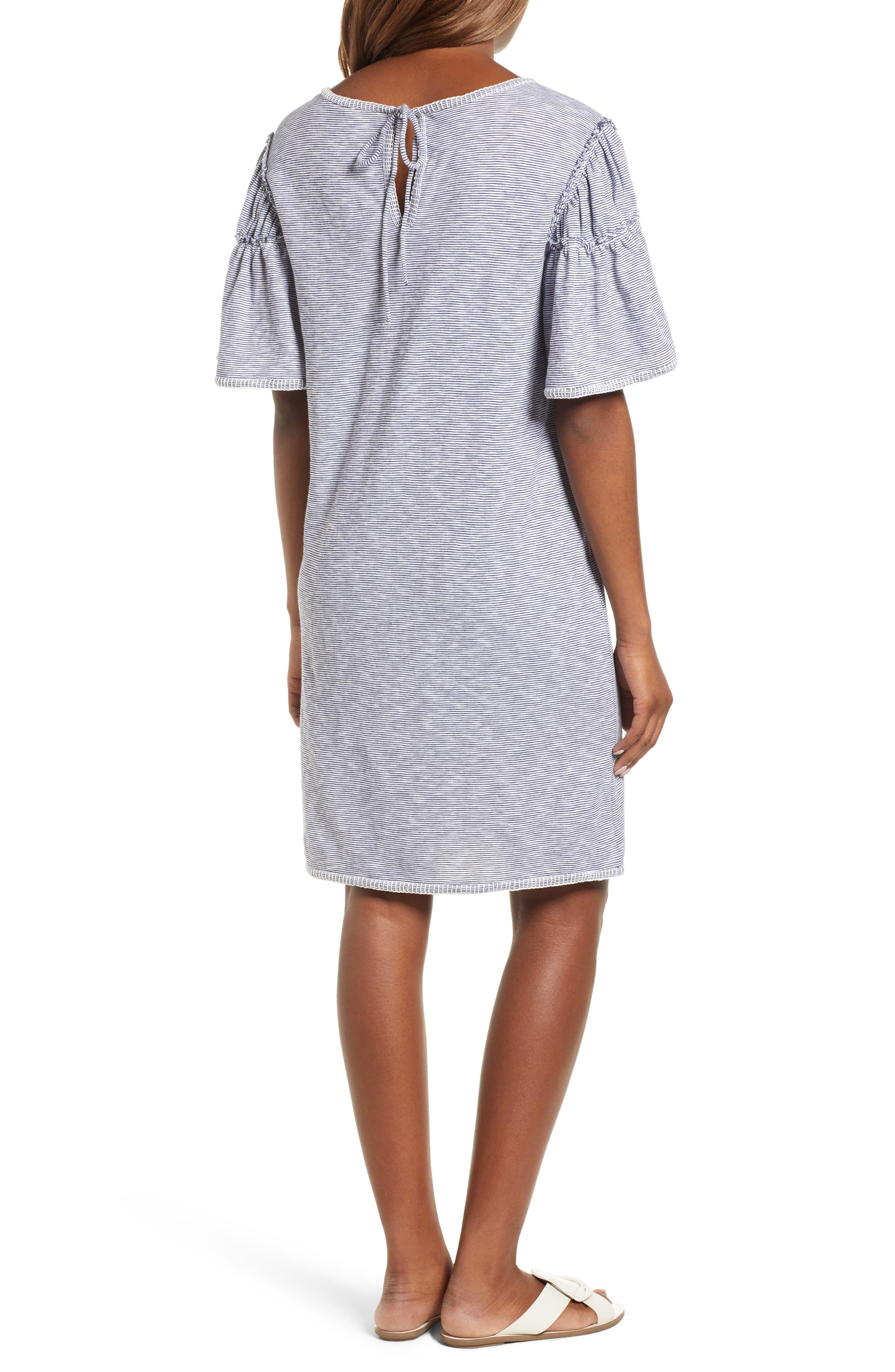 Flounce Sleeve Knit Dress,                             Alternate thumbnail 2, color,                             White- Navy Nicole Stripe
