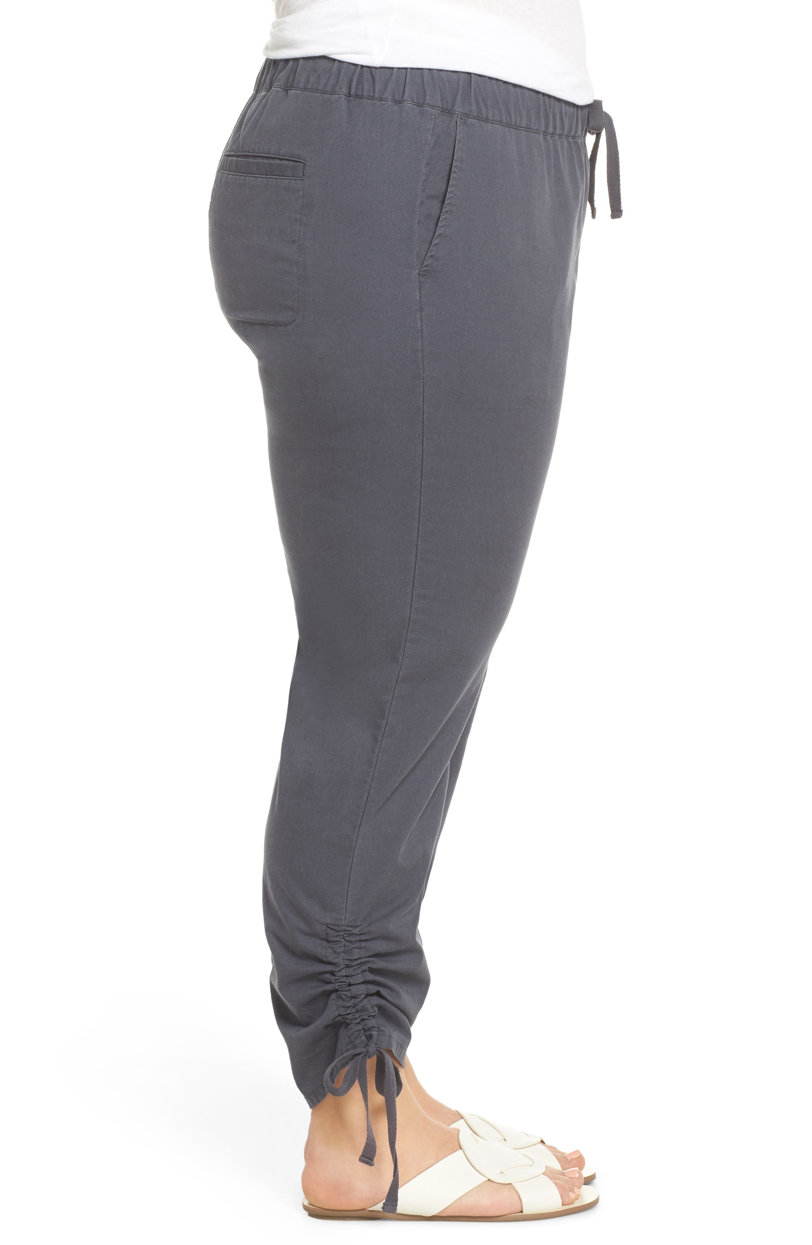 Side Ruched Ankle Pants,                             Alternate thumbnail 3, color,                             Grey Ebony