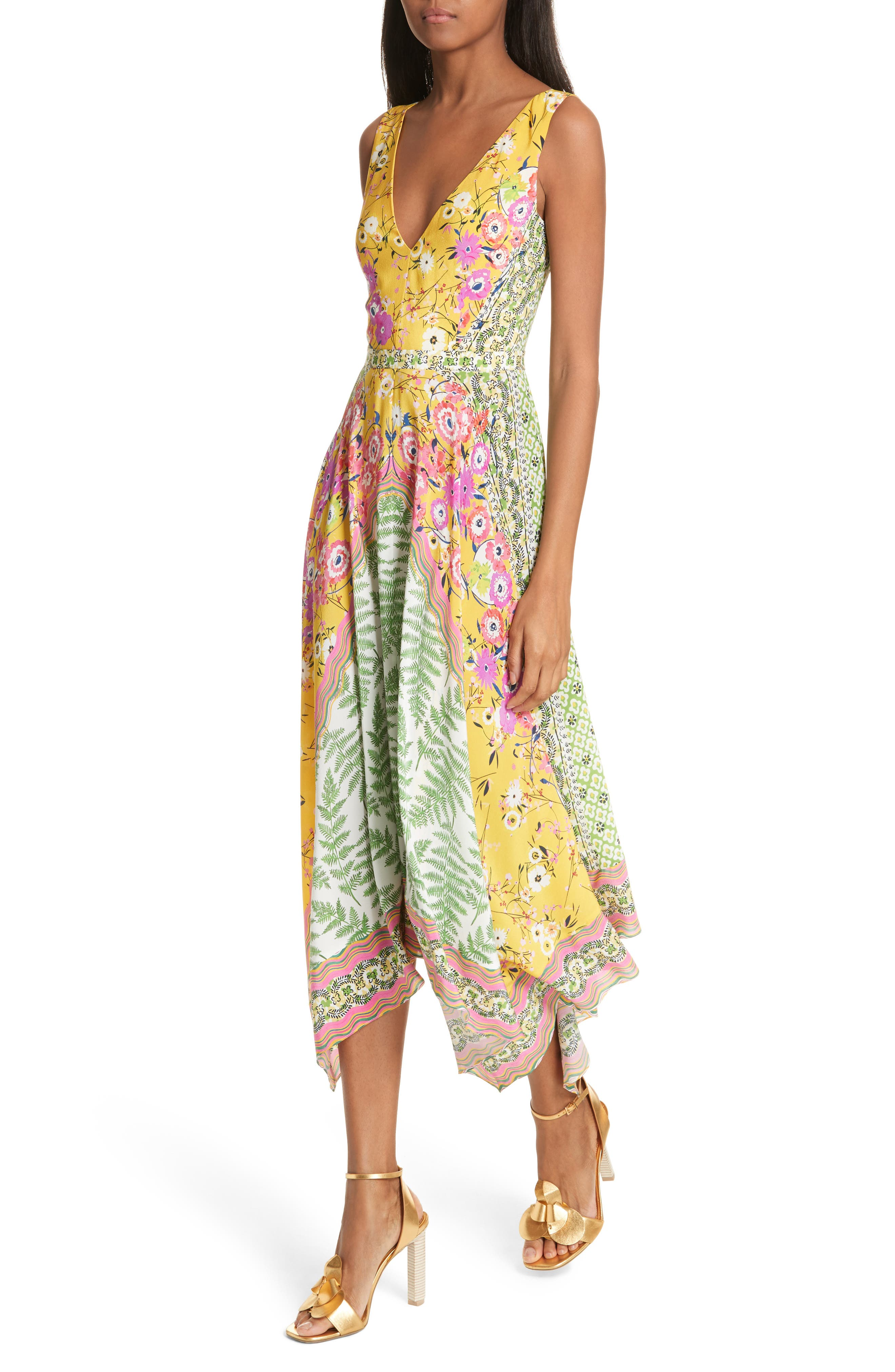 Zuri Floral Print Dress,                             Alternate thumbnail 4, color,                             Flowers/ Ferns