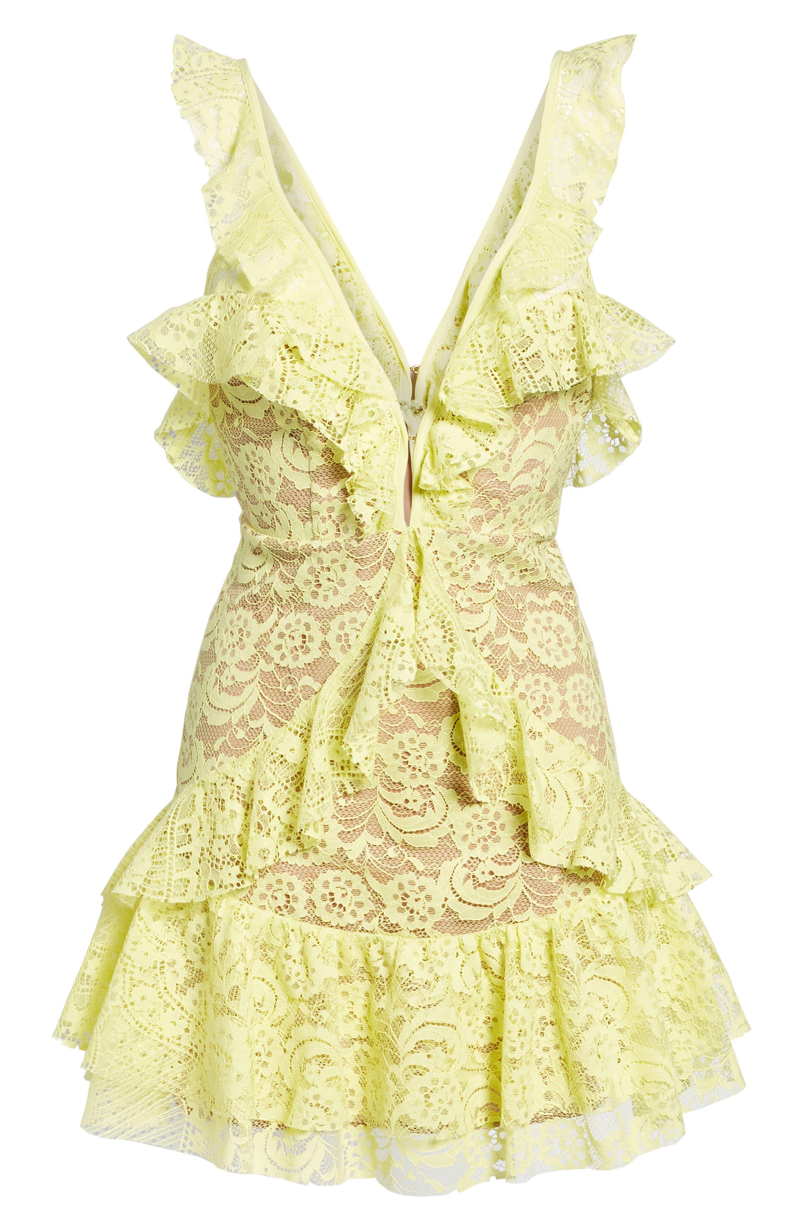 Tati Lace Minidress,                             Alternate thumbnail 6, color,                             Lemon