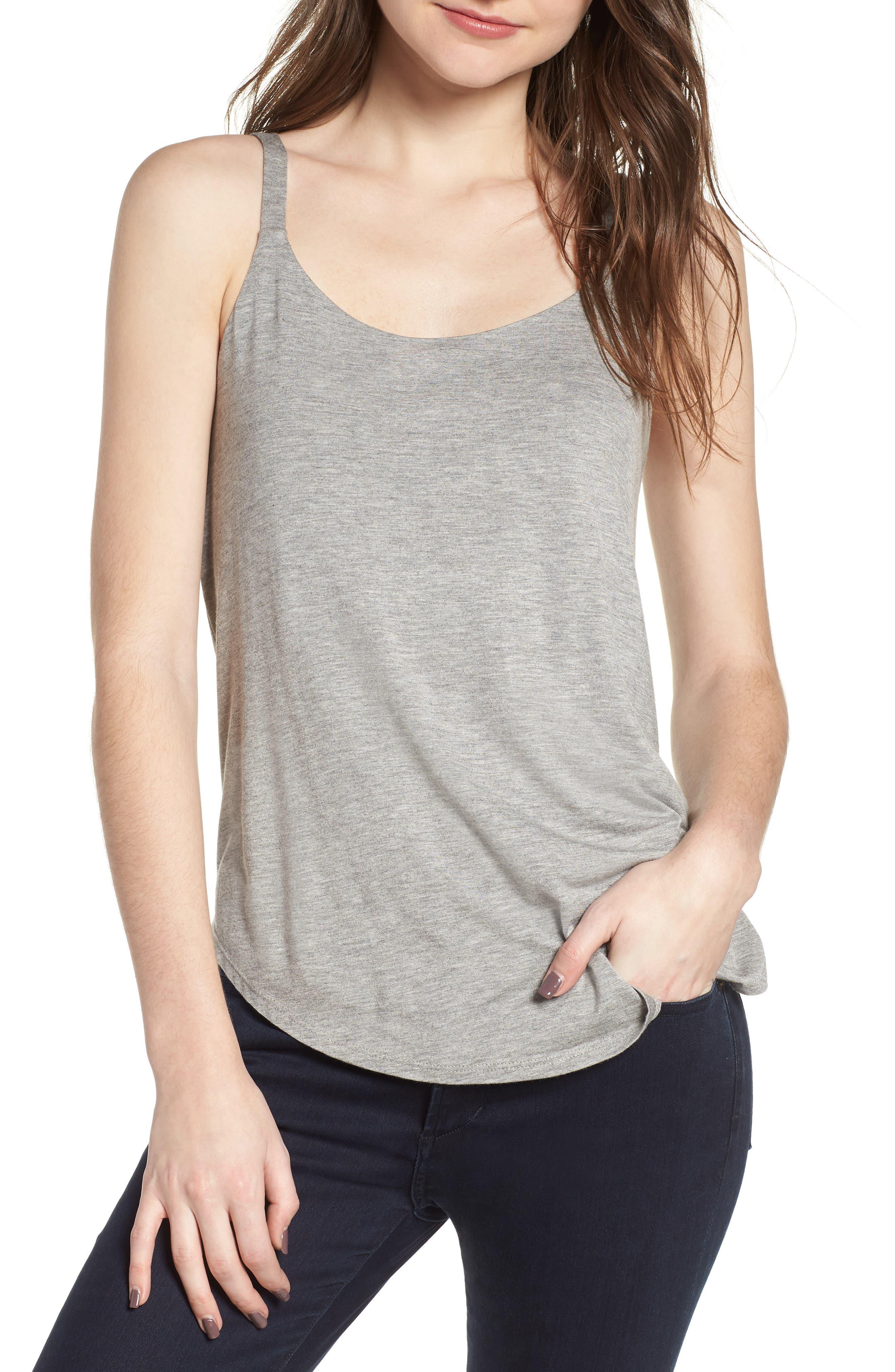 Drape Knit Tank,                         Main,                         color, Grey