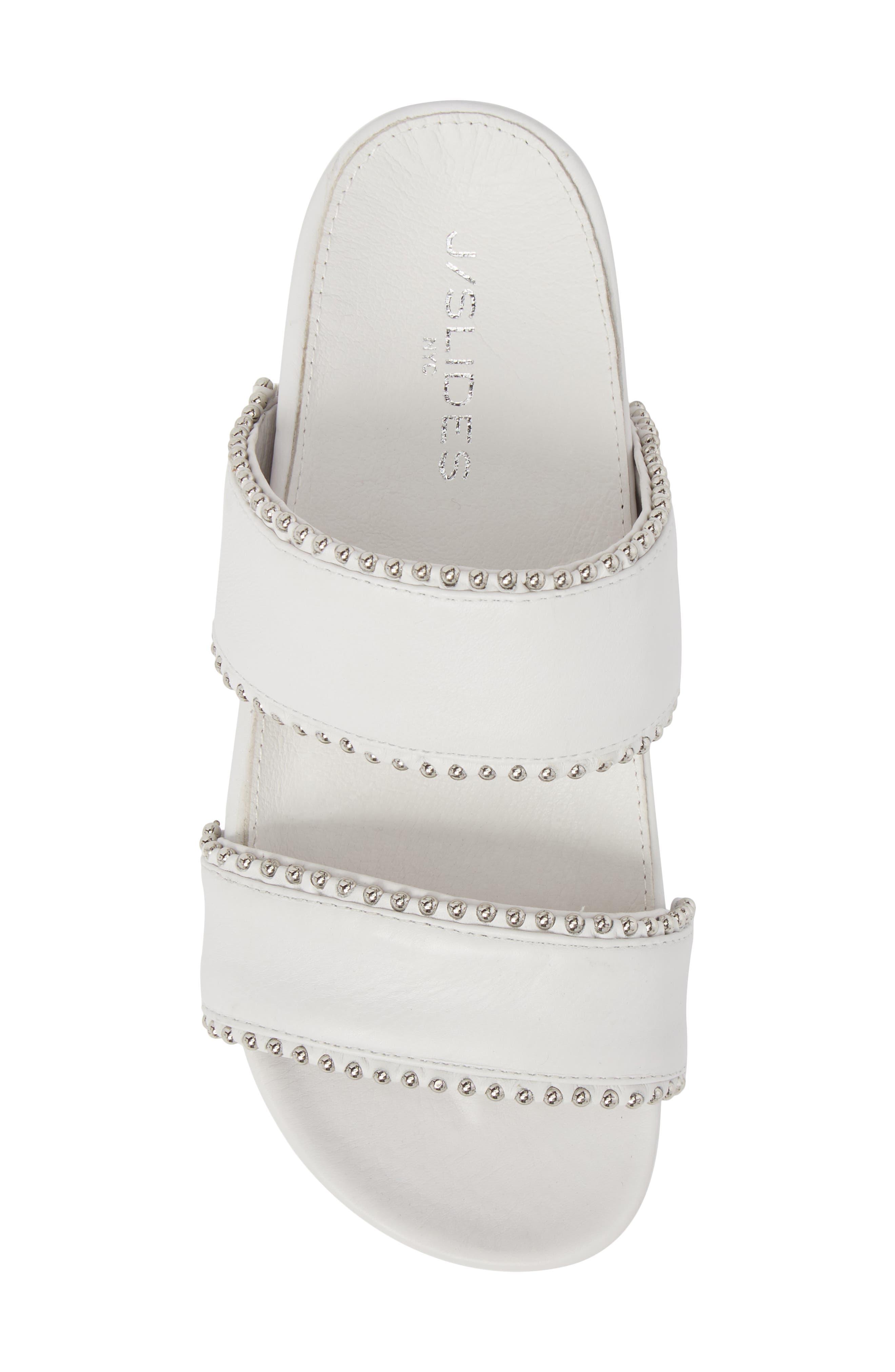 Emmie Bead Chain Slide Sandal,                             Alternate thumbnail 5, color,                             White Leather