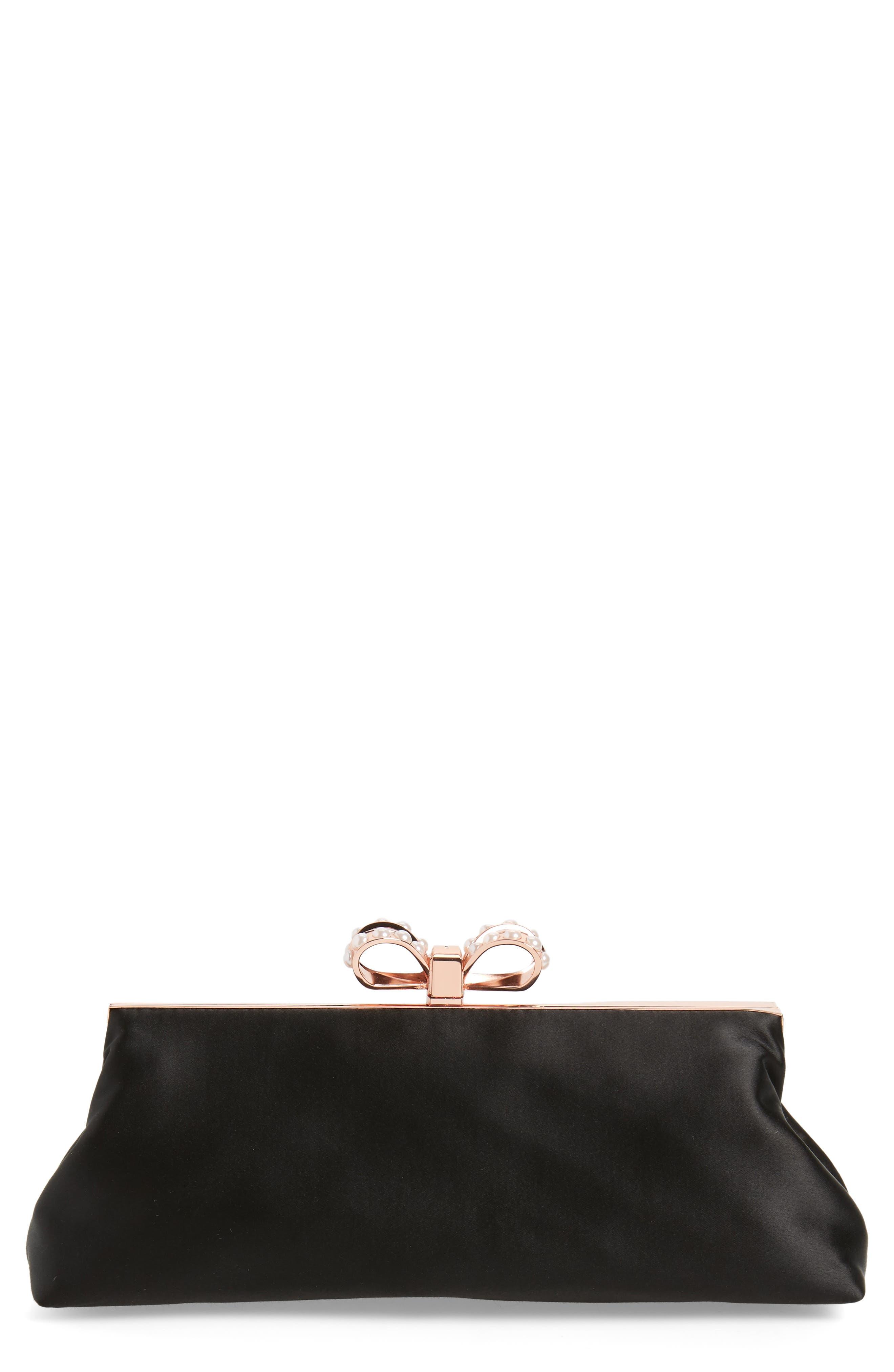 Georgaa Bow Clasp Evening Bag,                             Main thumbnail 1, color,                             Black