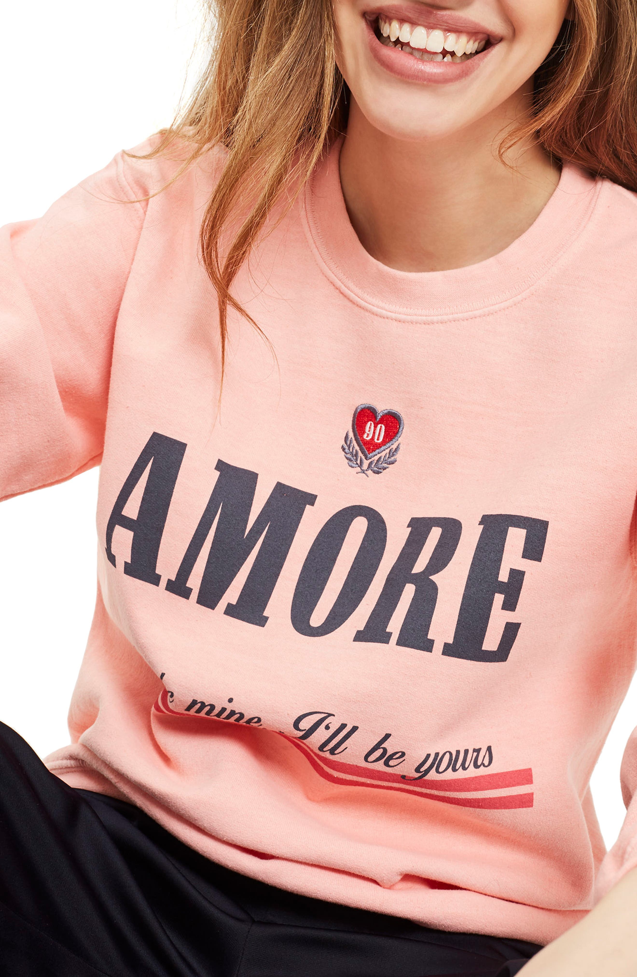 Alternate Image 1 Selected - Topshop Embroidered Amore Sweatshirt