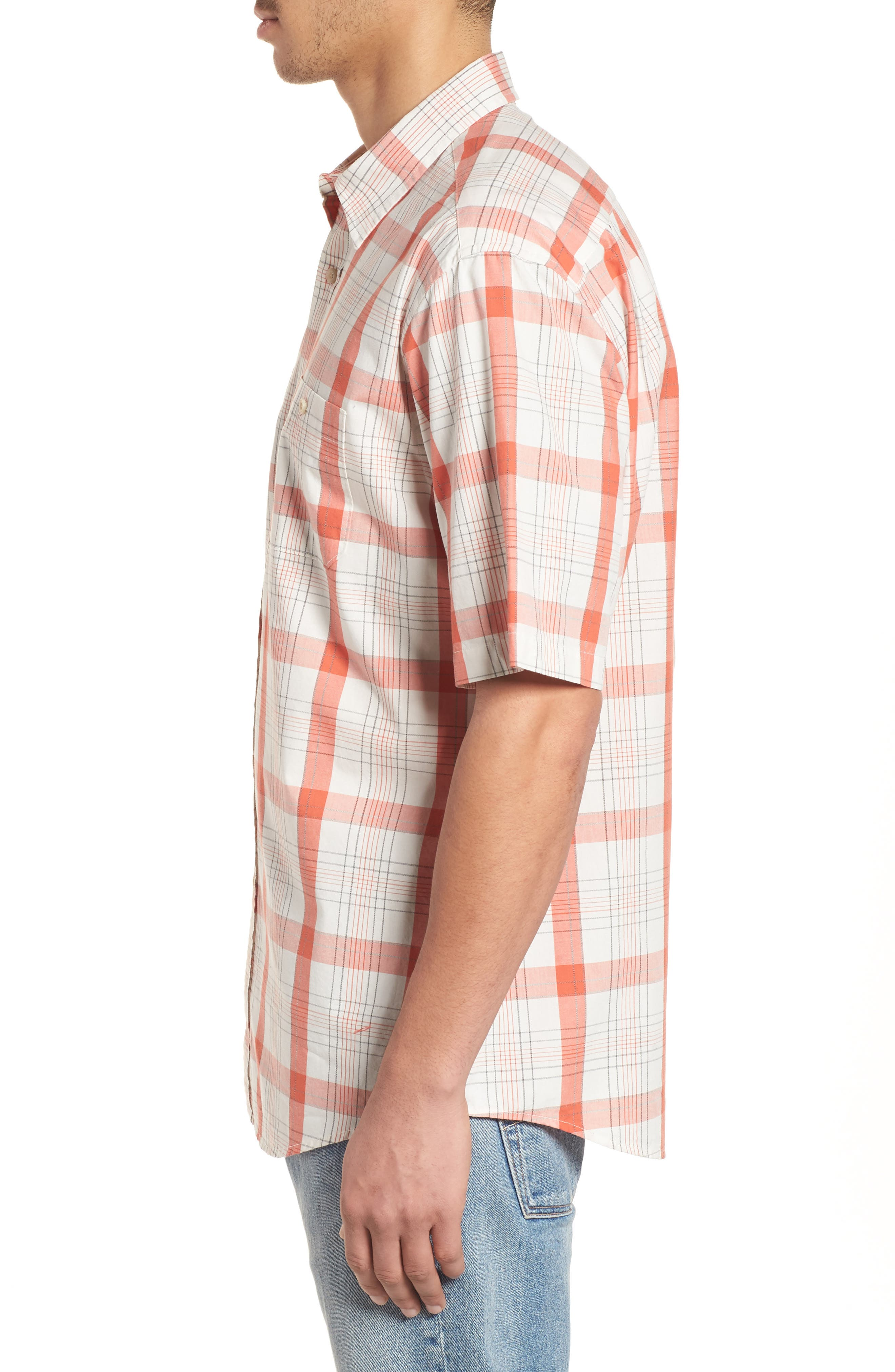 Clear Lake Short Sleeve Woven Shirt,                             Alternate thumbnail 4, color,                             Coral Plaid
