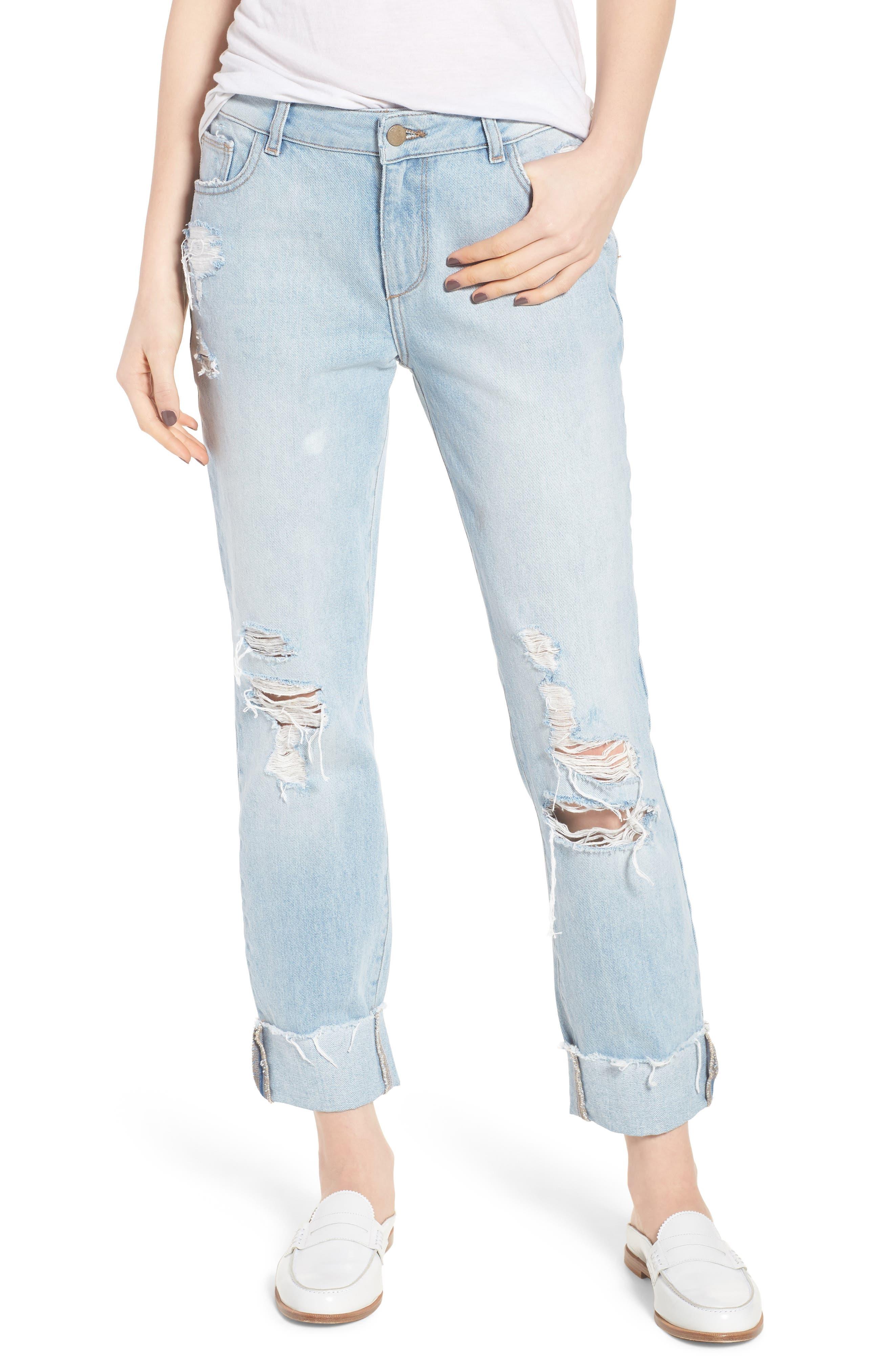 Stevie Ripped Crop Slim Boyfriend Jeans,                             Main thumbnail 1, color,                             Drift