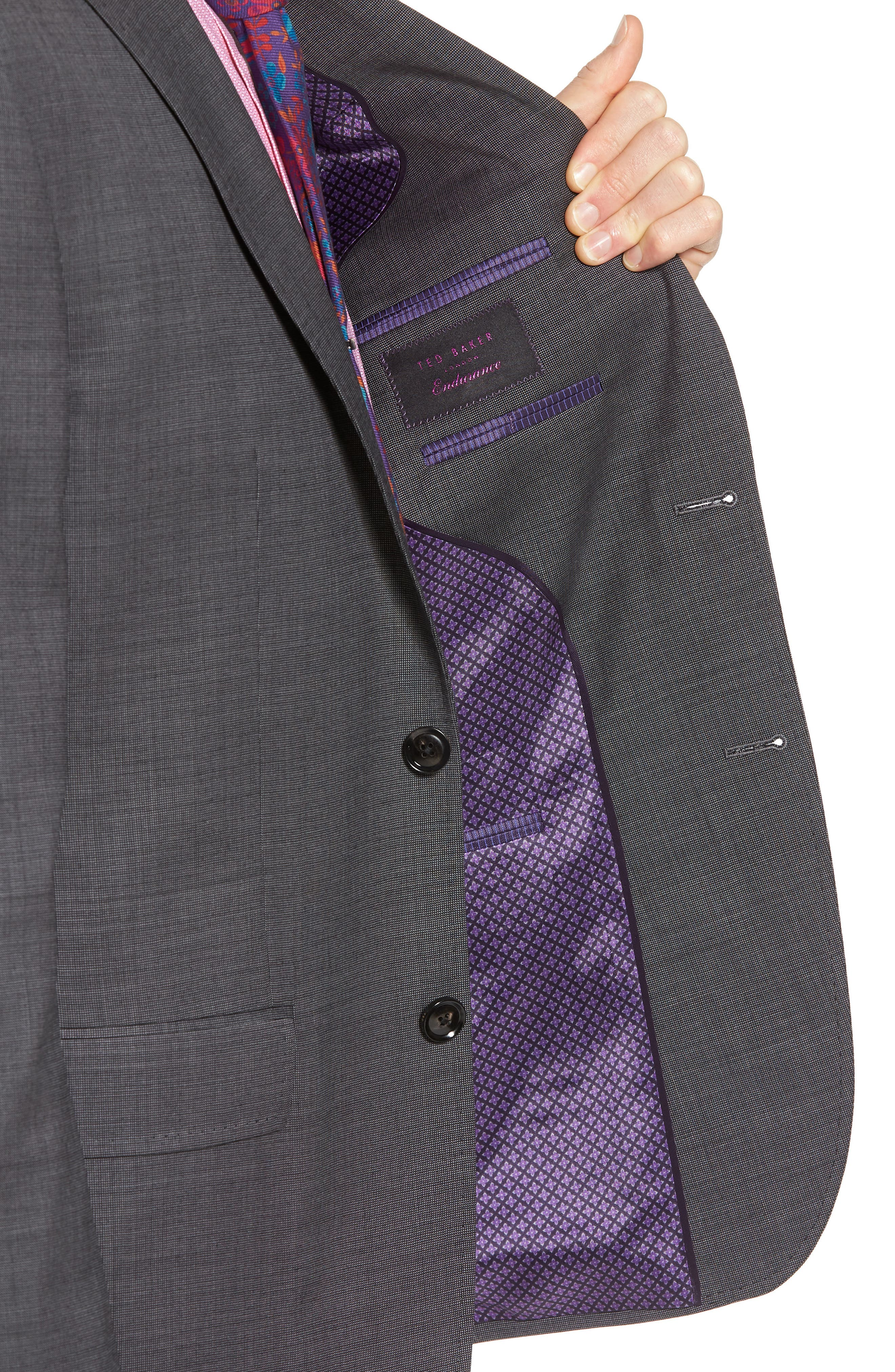 Jay Trim Fit Solid Wool Suit,                             Alternate thumbnail 4, color,                             Grey
