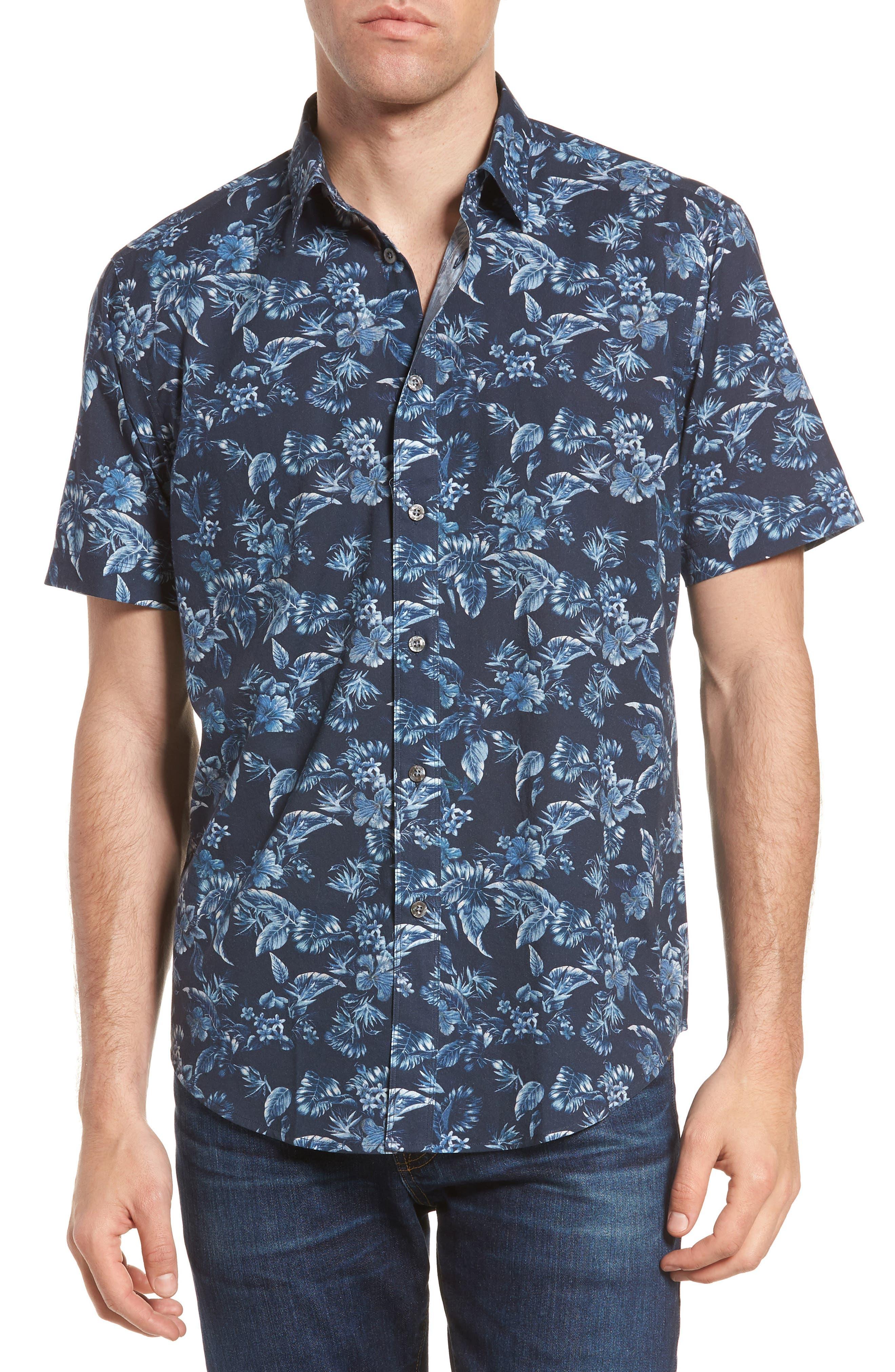 Califoras Regular Fit Print Sport Shirt,                             Main thumbnail 1, color,                             Navy