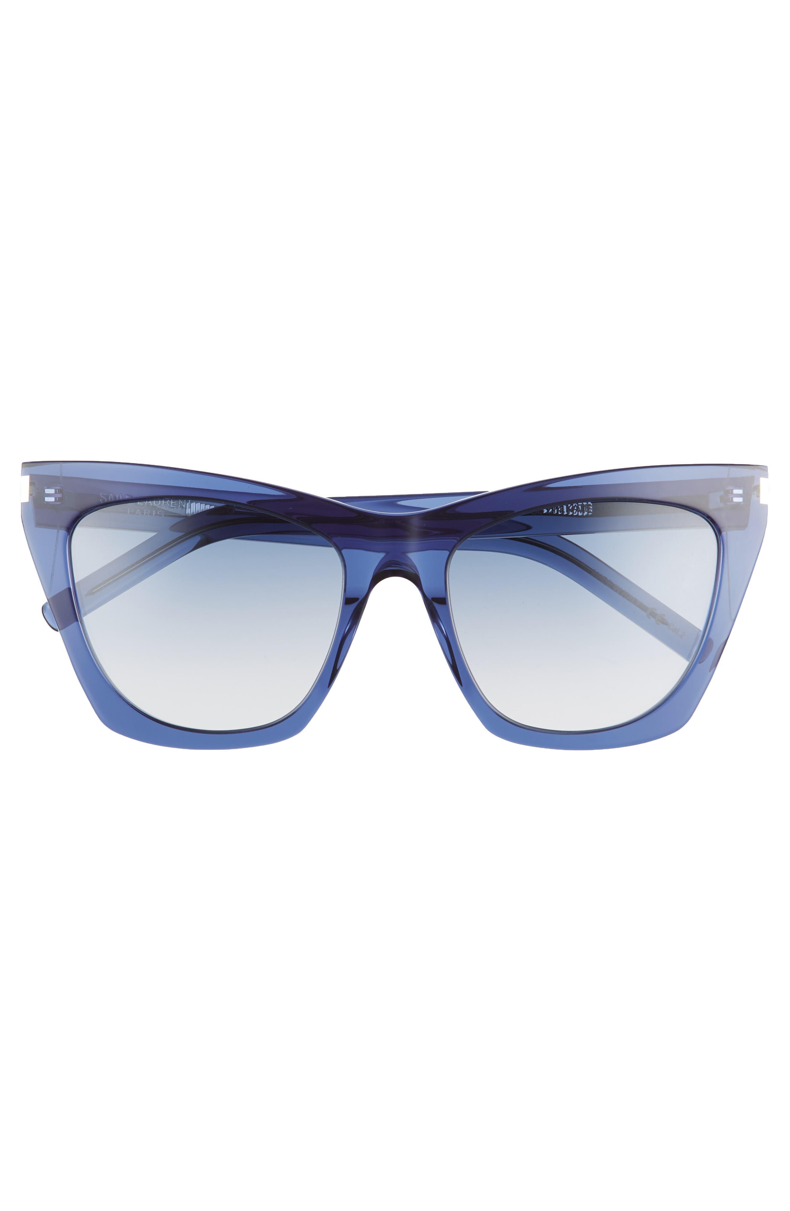 Kate 55mm Cat Eye Sunglasses,                             Alternate thumbnail 3, color,                             Blue