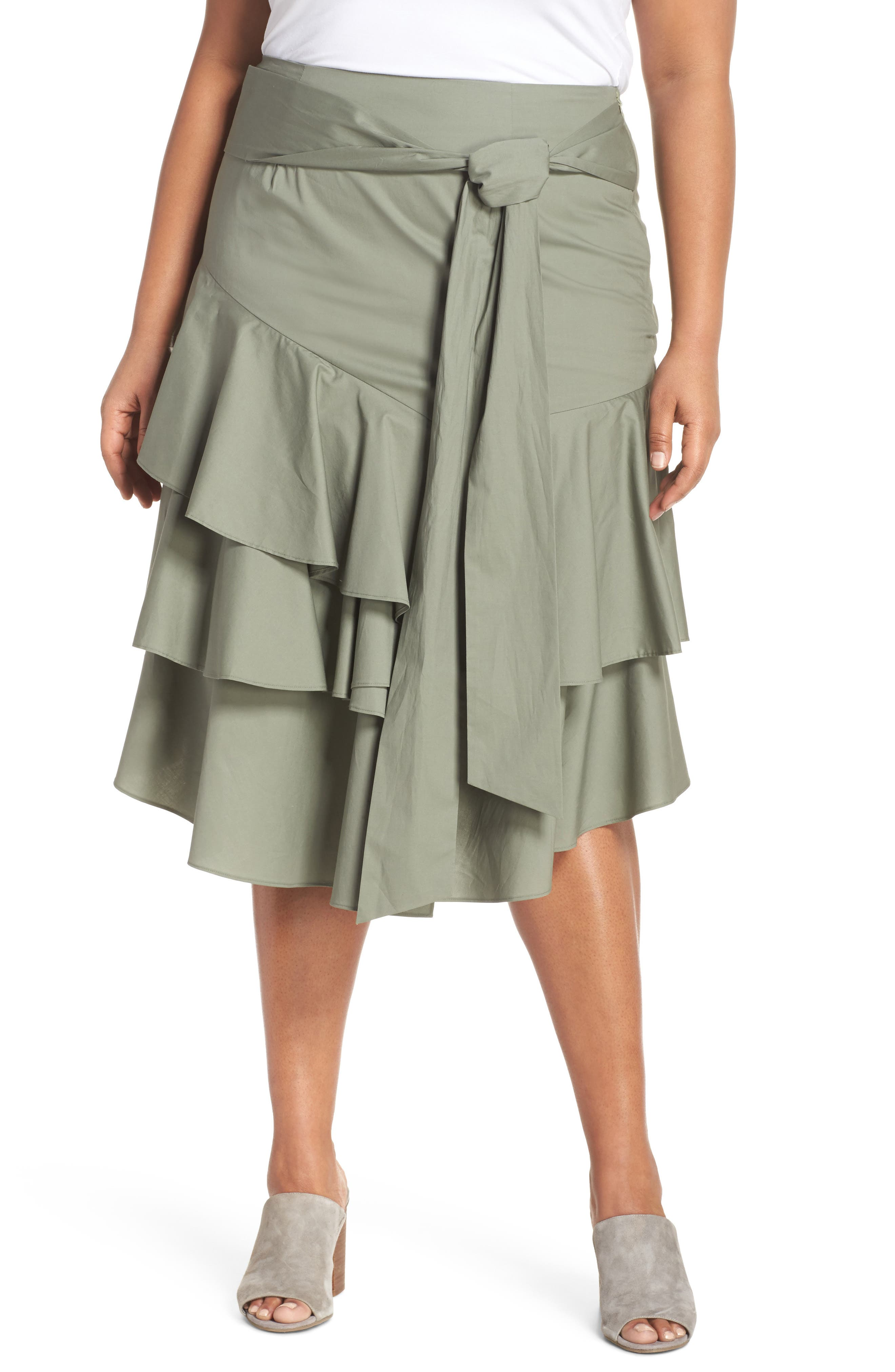 Vince Camuto Tiered Ruffle Belted Skirt (Plus Size)