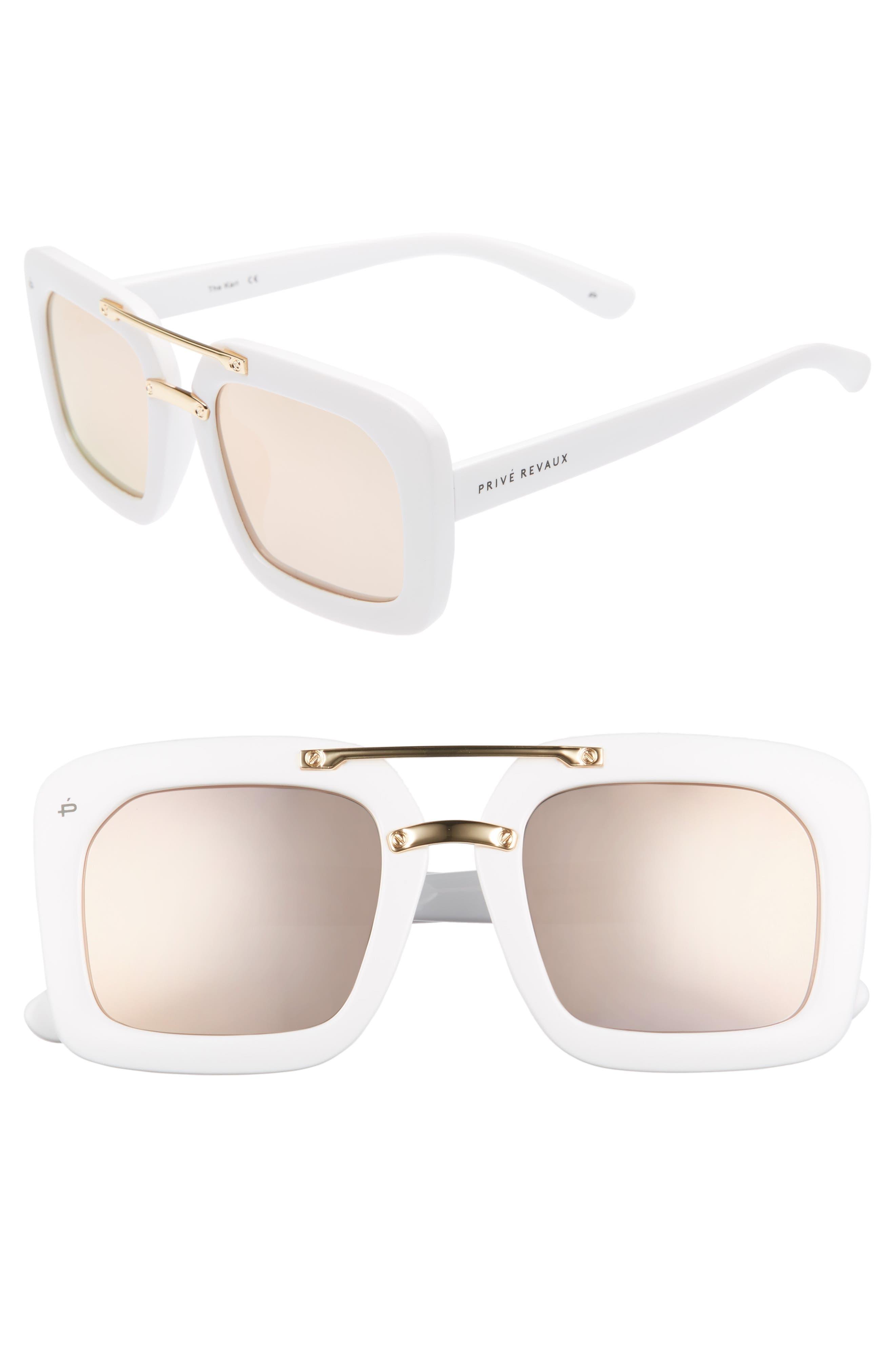 Privé Revaux The Karl 50mm Square Aviator Sunglasses,                         Main,                         color, White Polarized