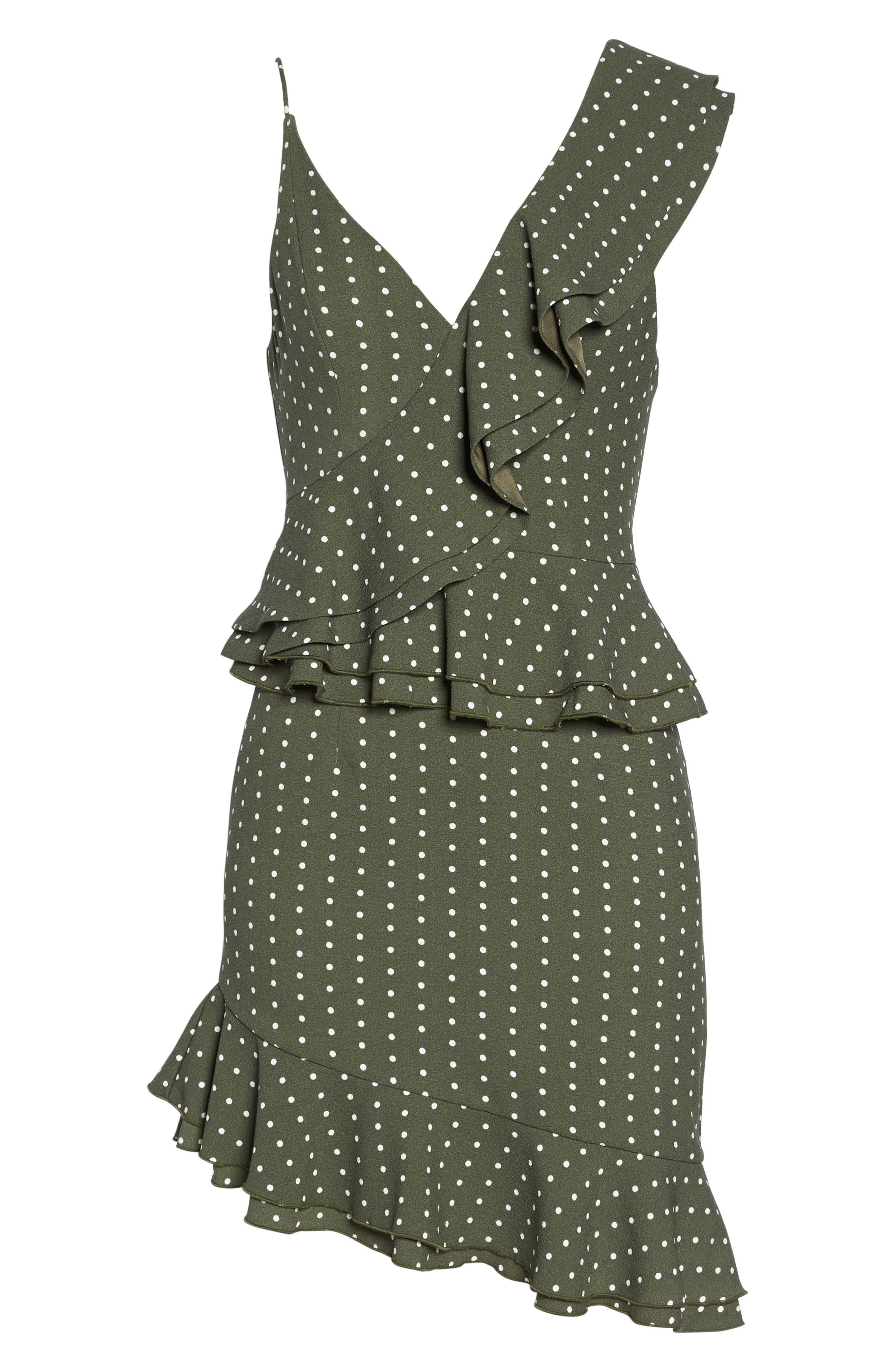 Entice Dot Ruffle Trim Dress,                             Alternate thumbnail 6, color,                             Khaki W Ivory Spot