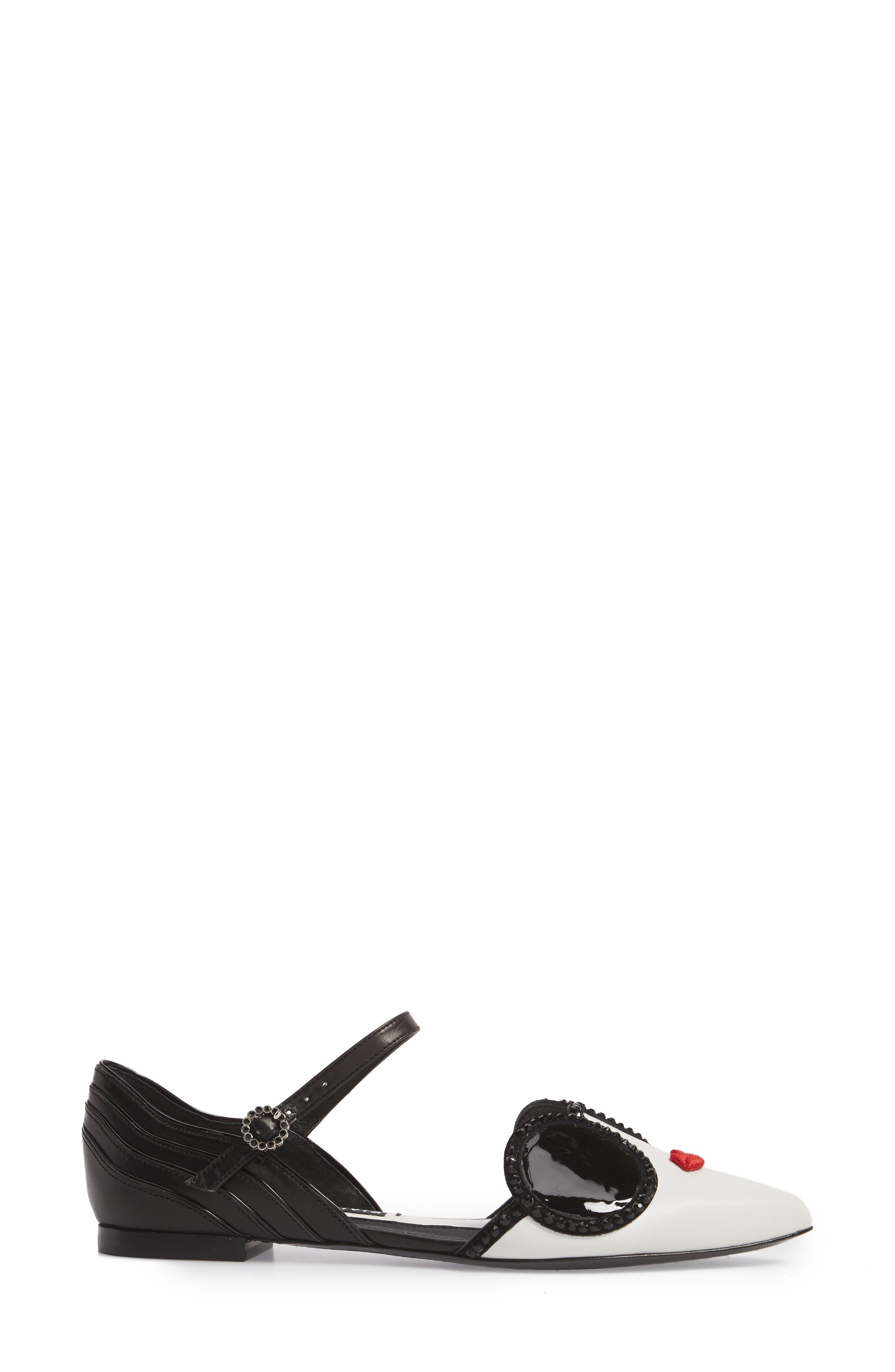 Lexi Embellished Pointy Toe Flat,                             Alternate thumbnail 3, color,                             Bianco/ Black/ Poppy
