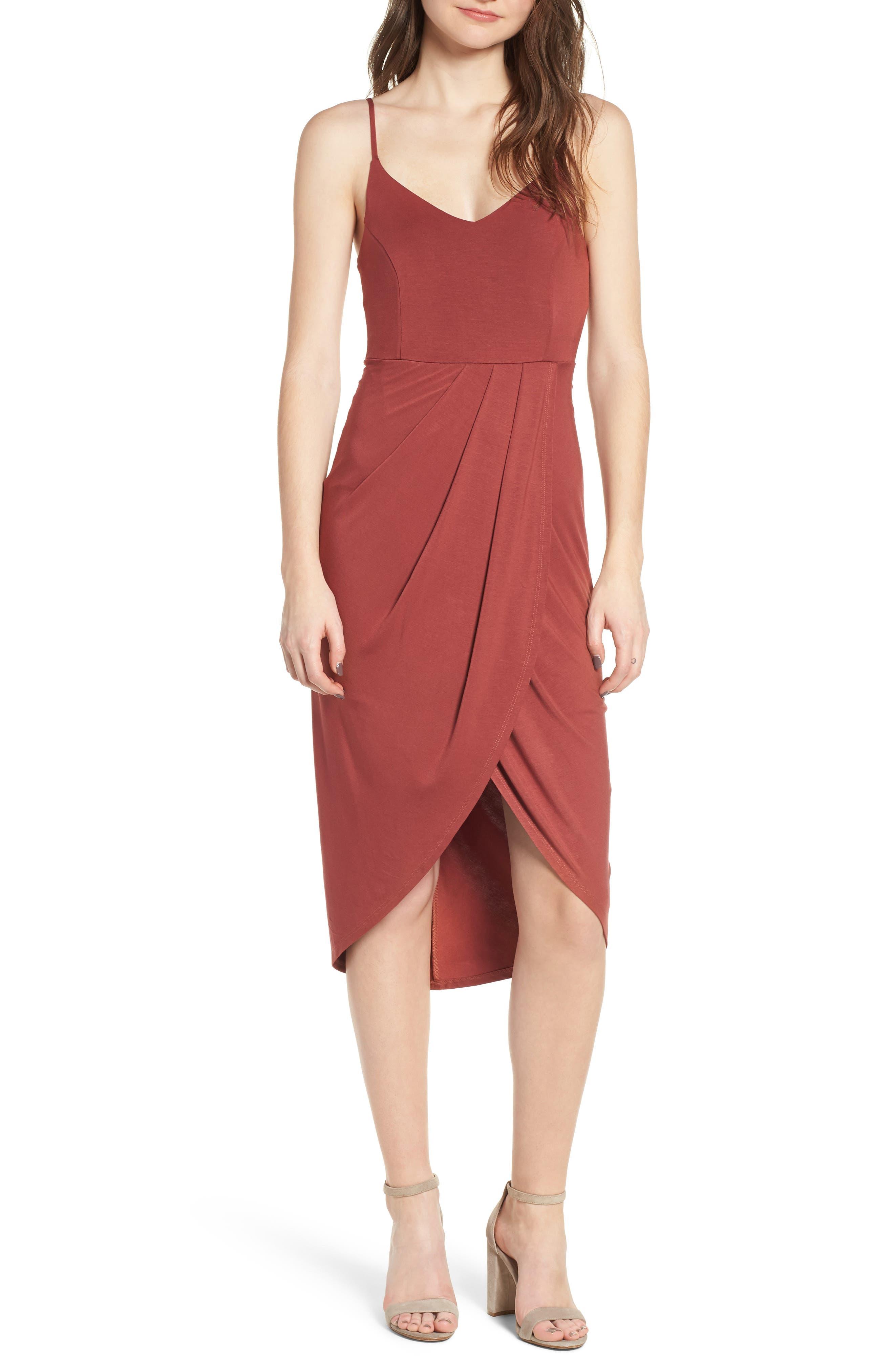 Pleated Wrap Dress,                         Main,                         color, Rust Marsala