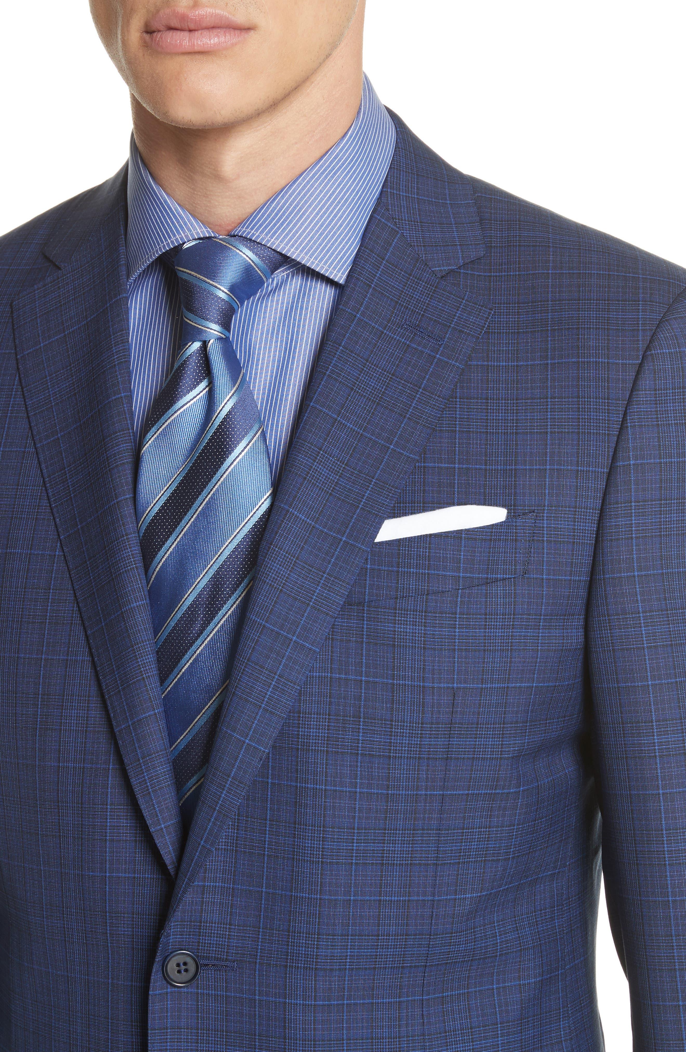 Classic Fit Tonal Plaid Wool Suit,                             Alternate thumbnail 4, color,                             Blue